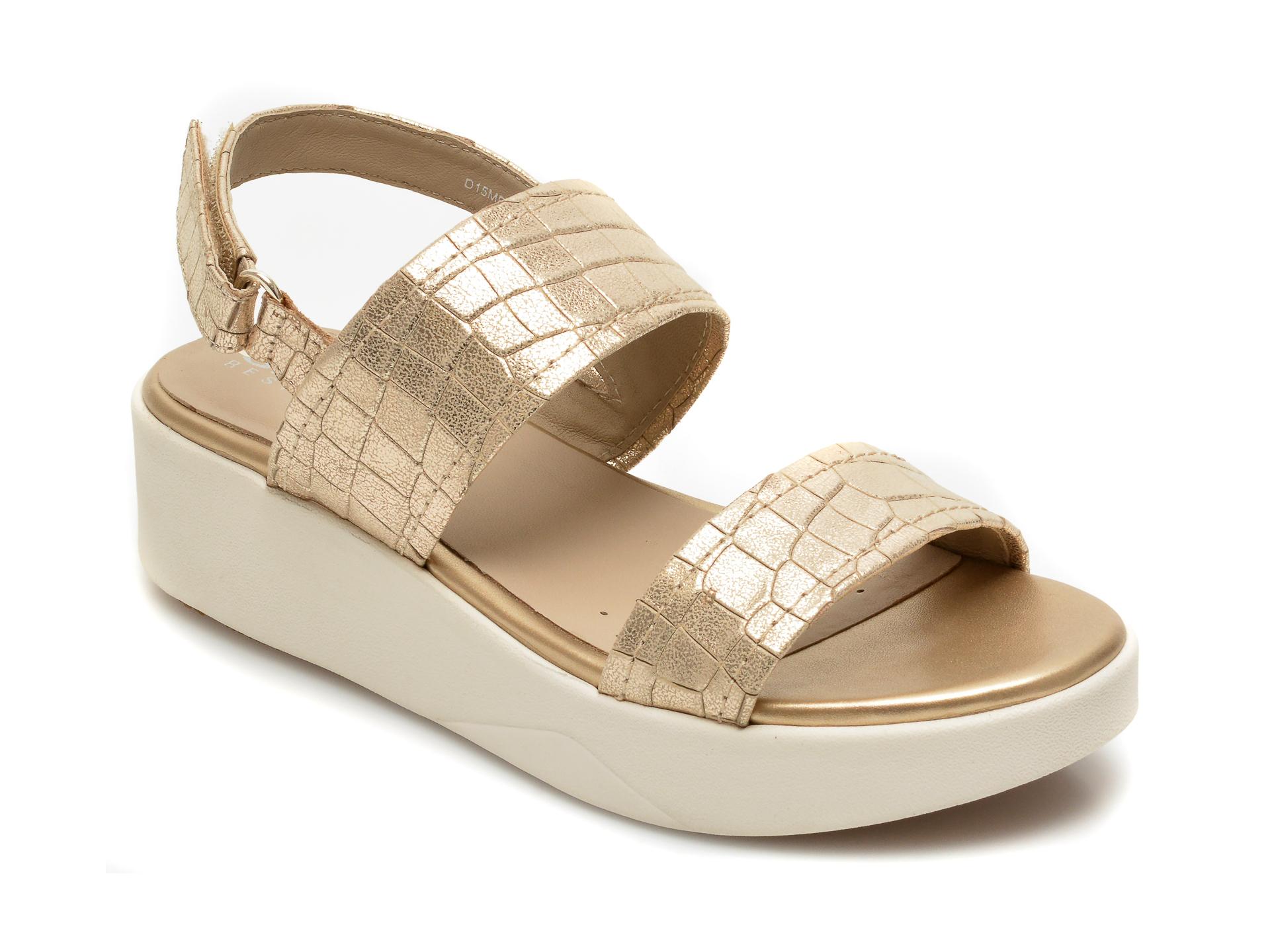 Sandale GEOX aurii, D15MPC, din piele naturala imagine otter.ro