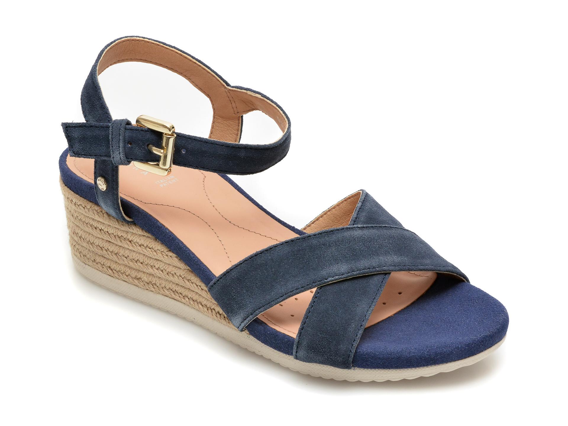 Sandale GEOX bleumarin, D02HHC, din piele intoarsa New