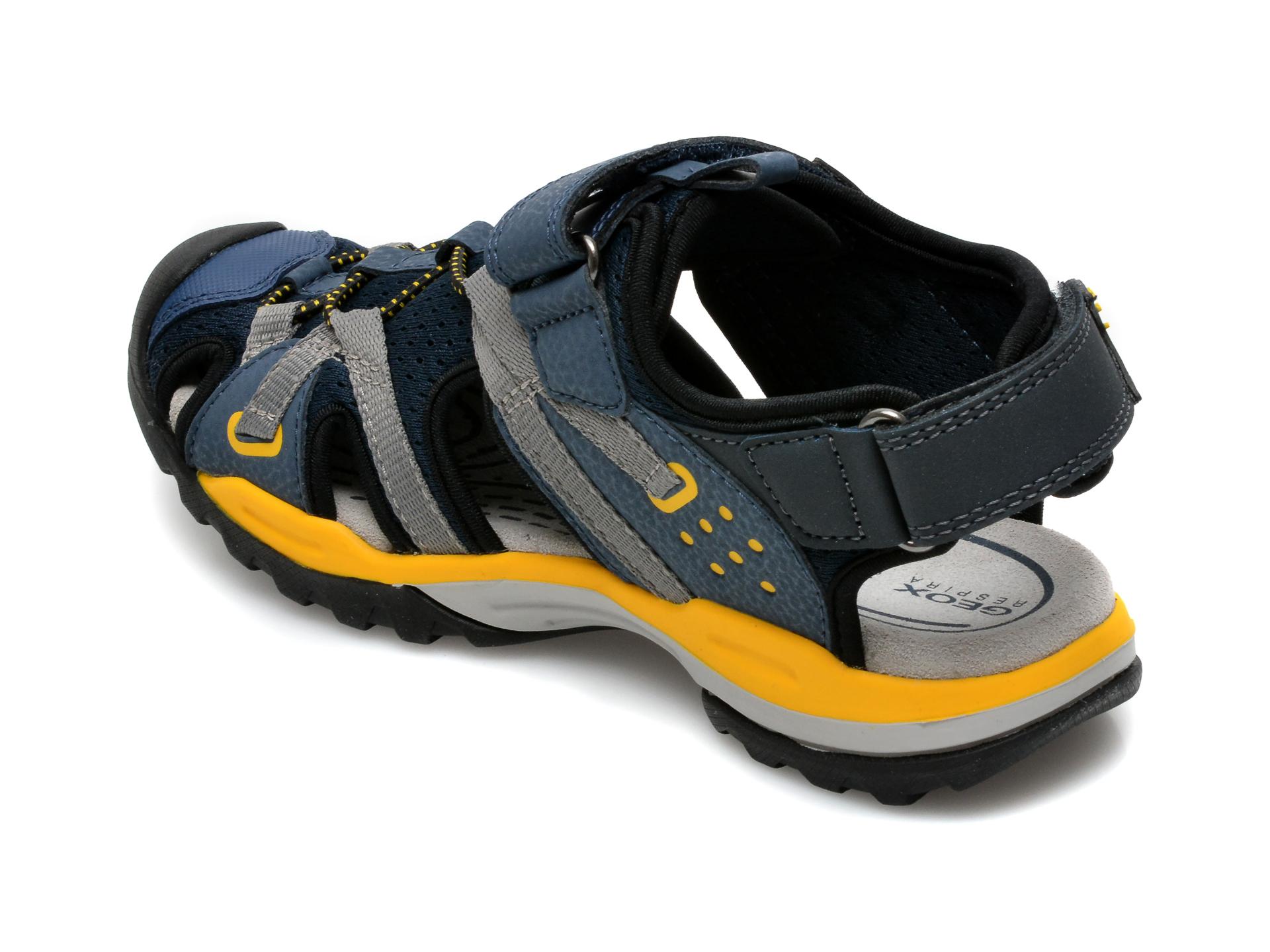 Sandale GEOX bleumarin, J920RB, din material textil si piele ecologica - 5
