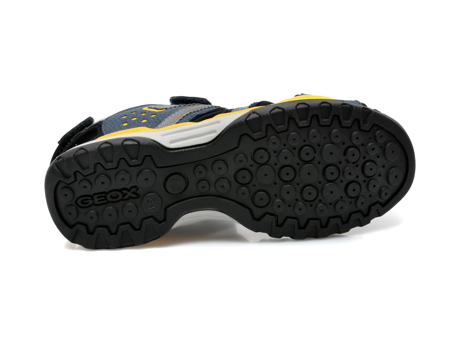 Sandale GEOX bleumarin, J920RB, din material textil si piele ecologica - 7