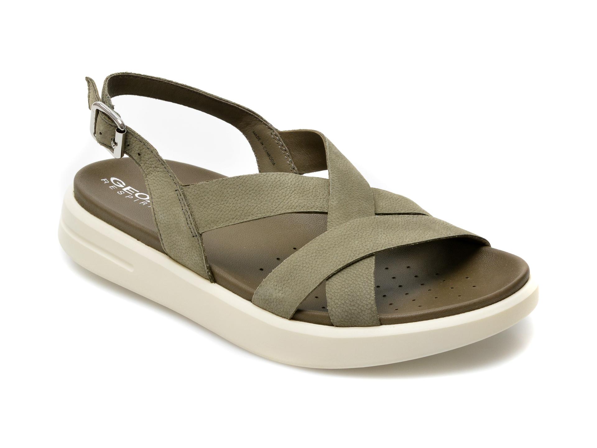 Sandale GEOX kaki, D15PAD, din piele naturala imagine otter.ro 2021