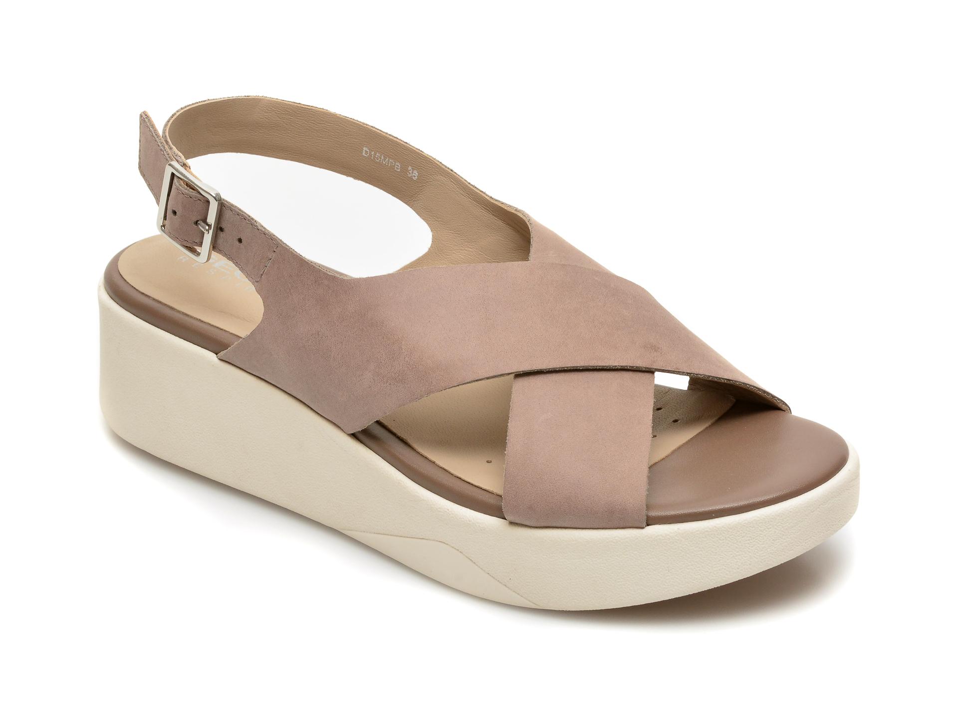 Sandale GEOX maro, D15MPB, din piele naturala New