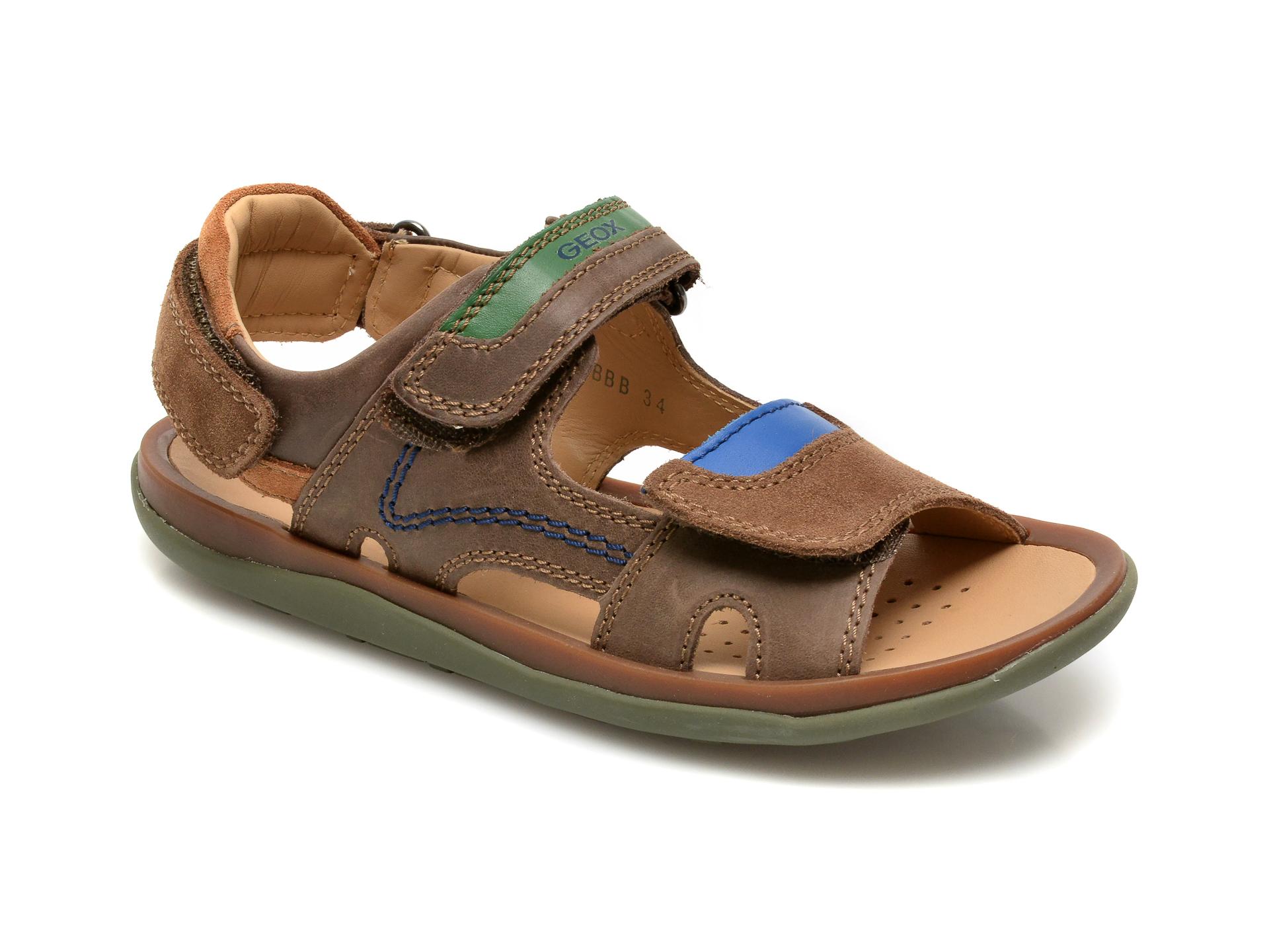 Sandale GEOX maro, J02BBB, din piele naturala