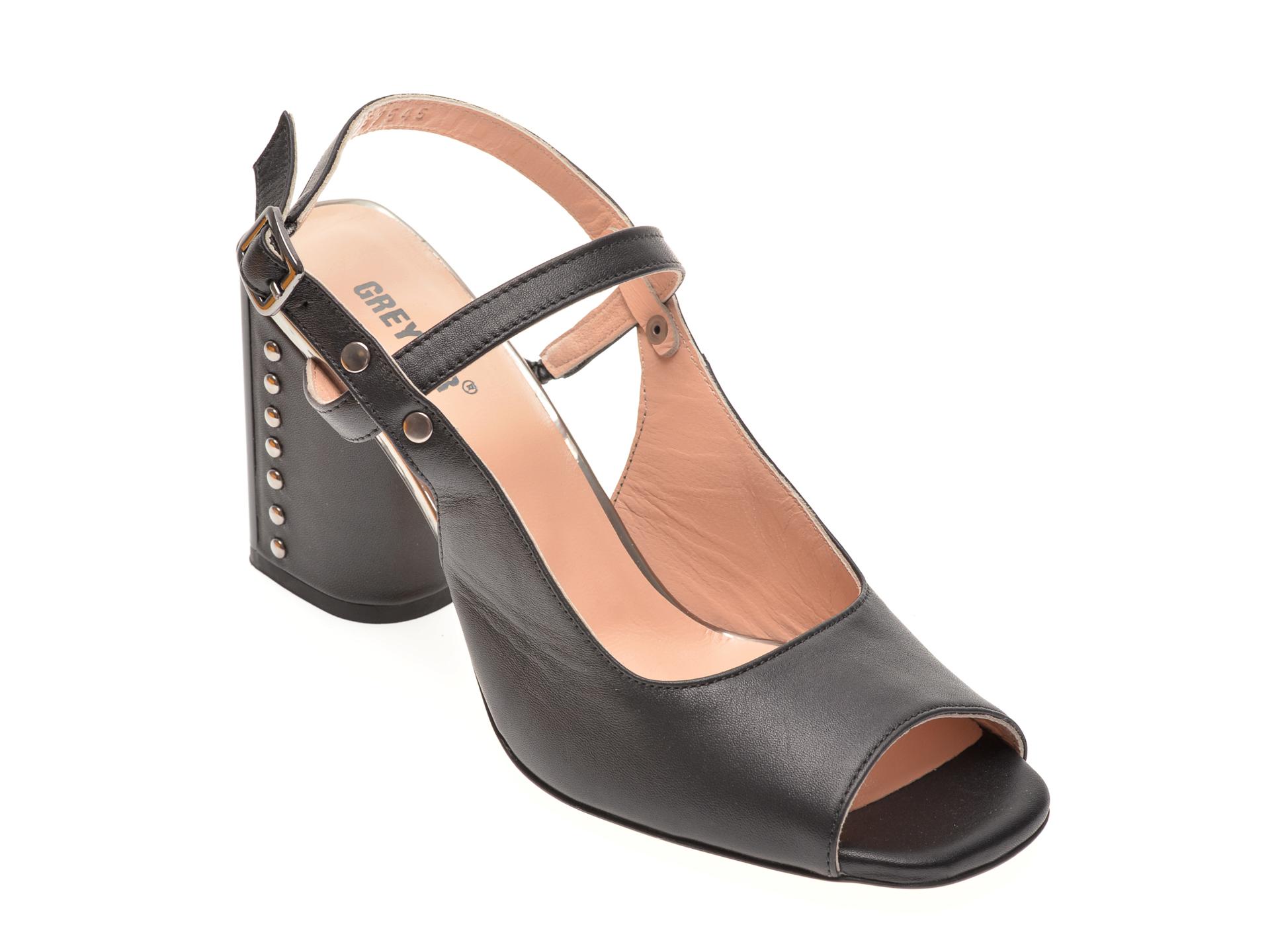 Sandale GREYDER negre, 57545, din piele naturala
