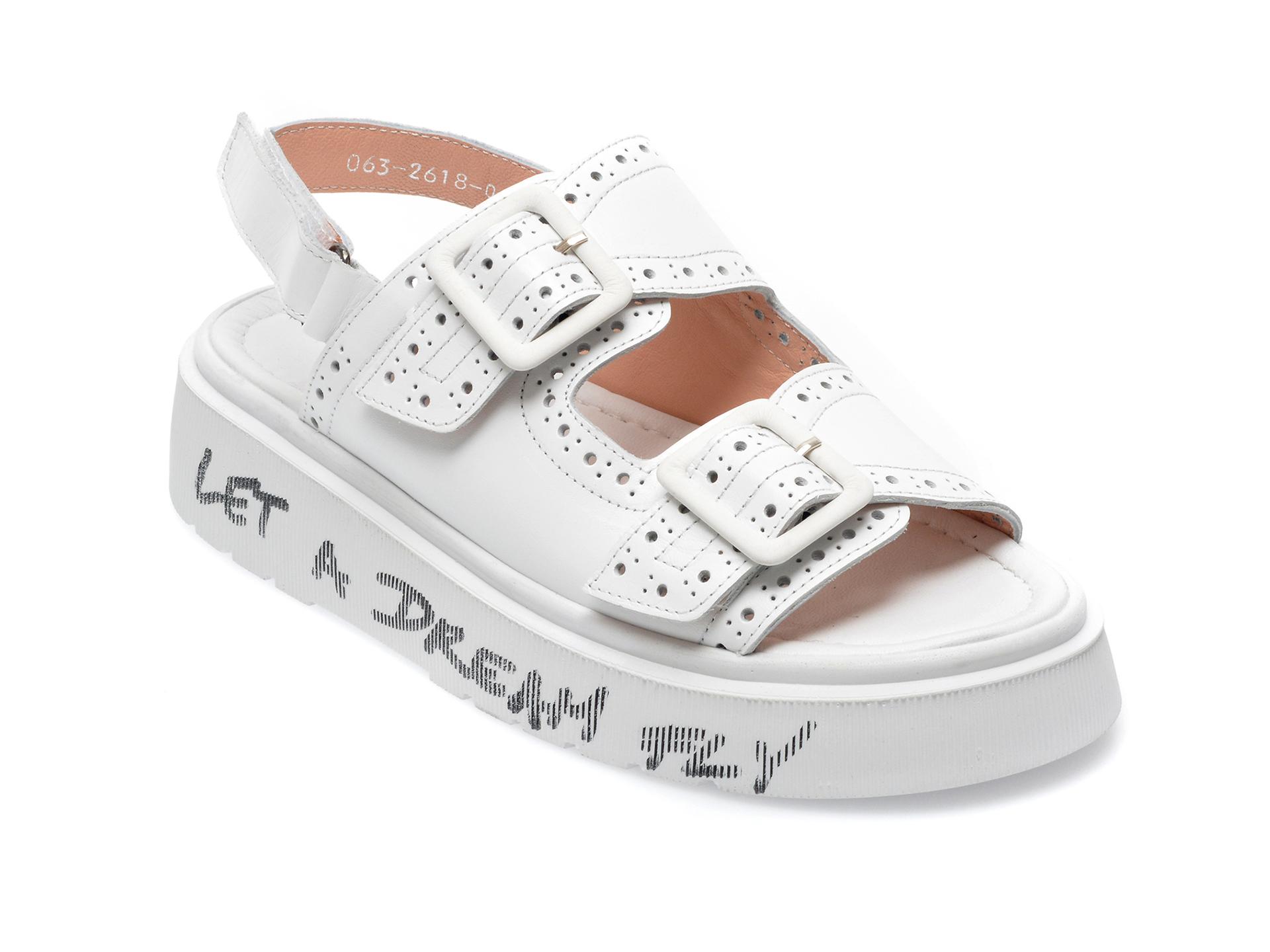 Sandale GRYXX albe, 06326YB, din piele naturala