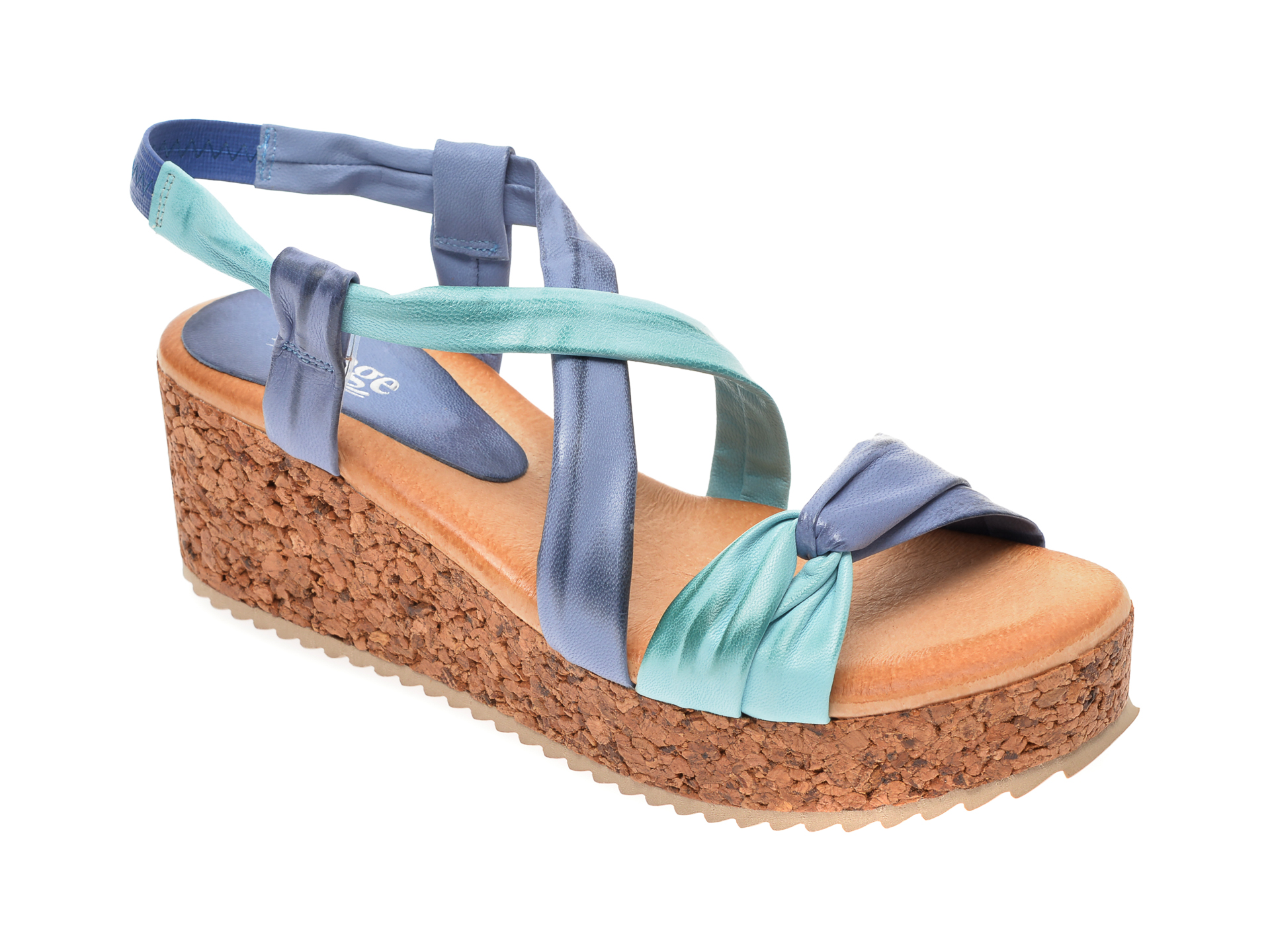 Sandale IMAGE albastre, 1059, din piele naturala