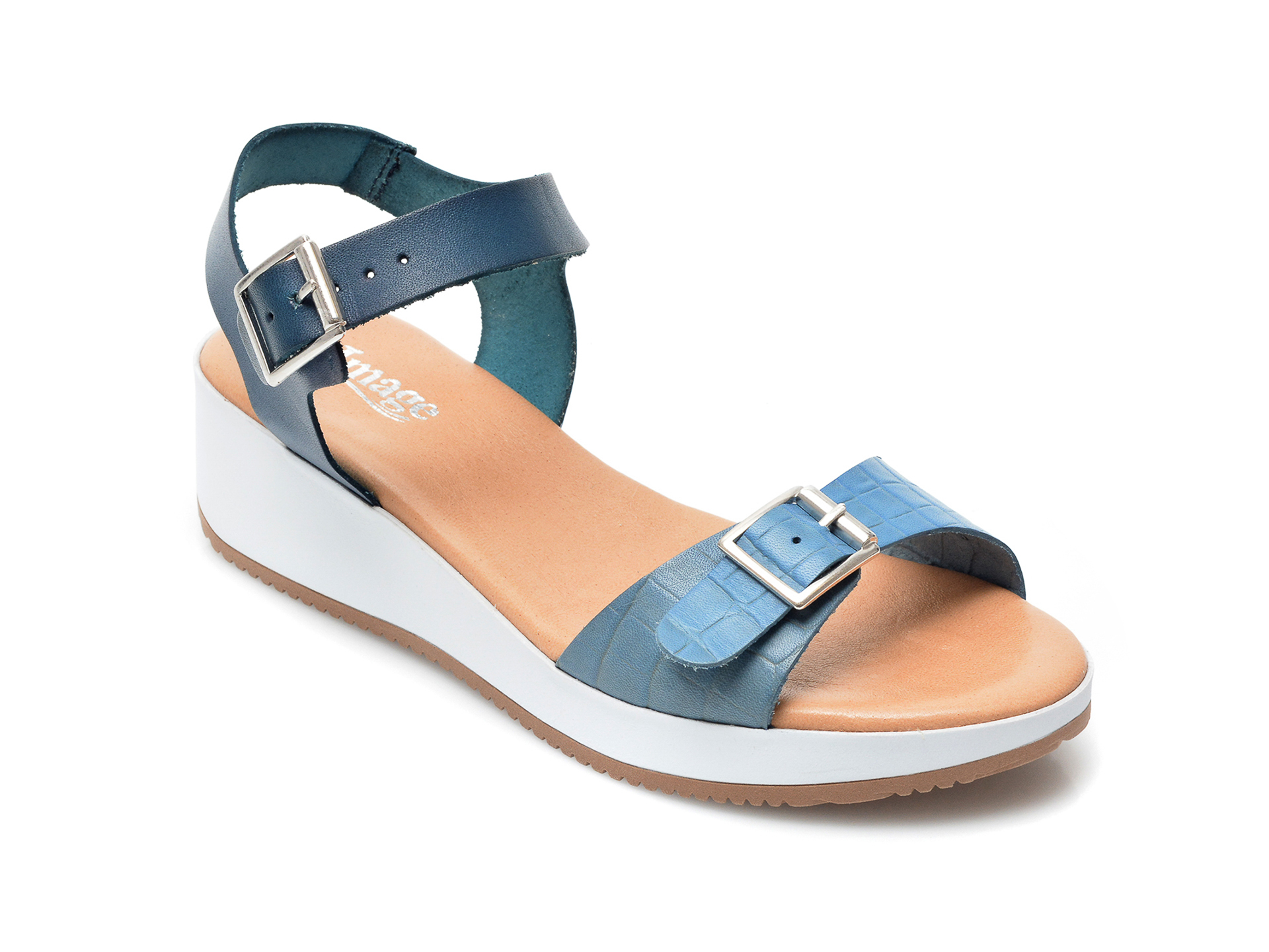 Sandale IMAGE albastre, 1411S, din piele naturala imagine otter.ro 2021
