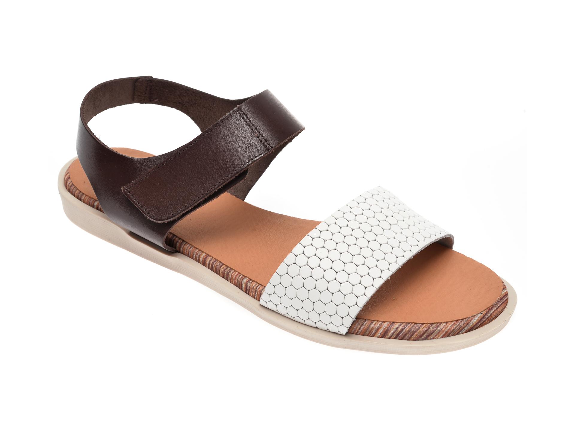 Sandale IMAGE albe, 1242, din piele naturala imagine