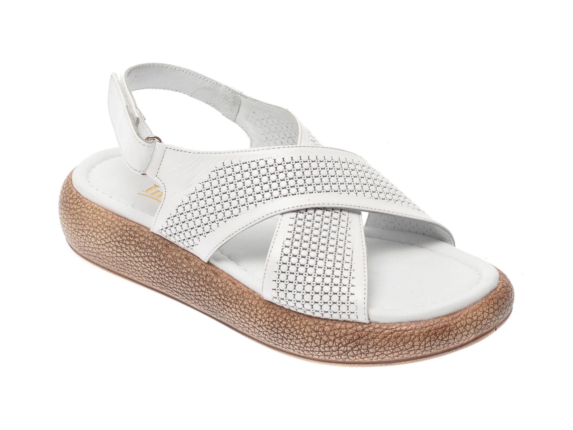 Sandale IMAGE albe, 6025, din piele naturala