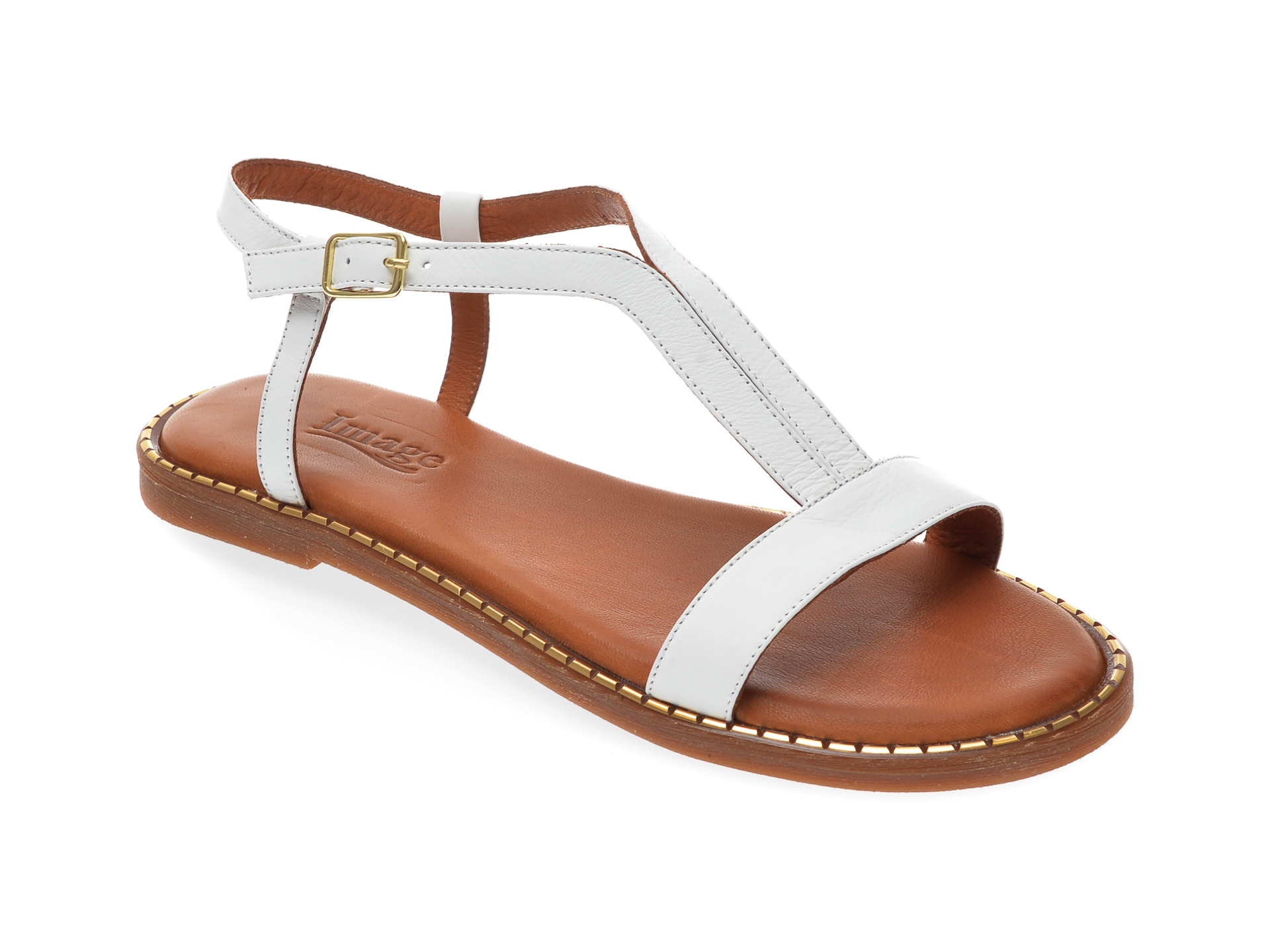 Sandale IMAGE albe, 701, din piele naturala imagine otter.ro