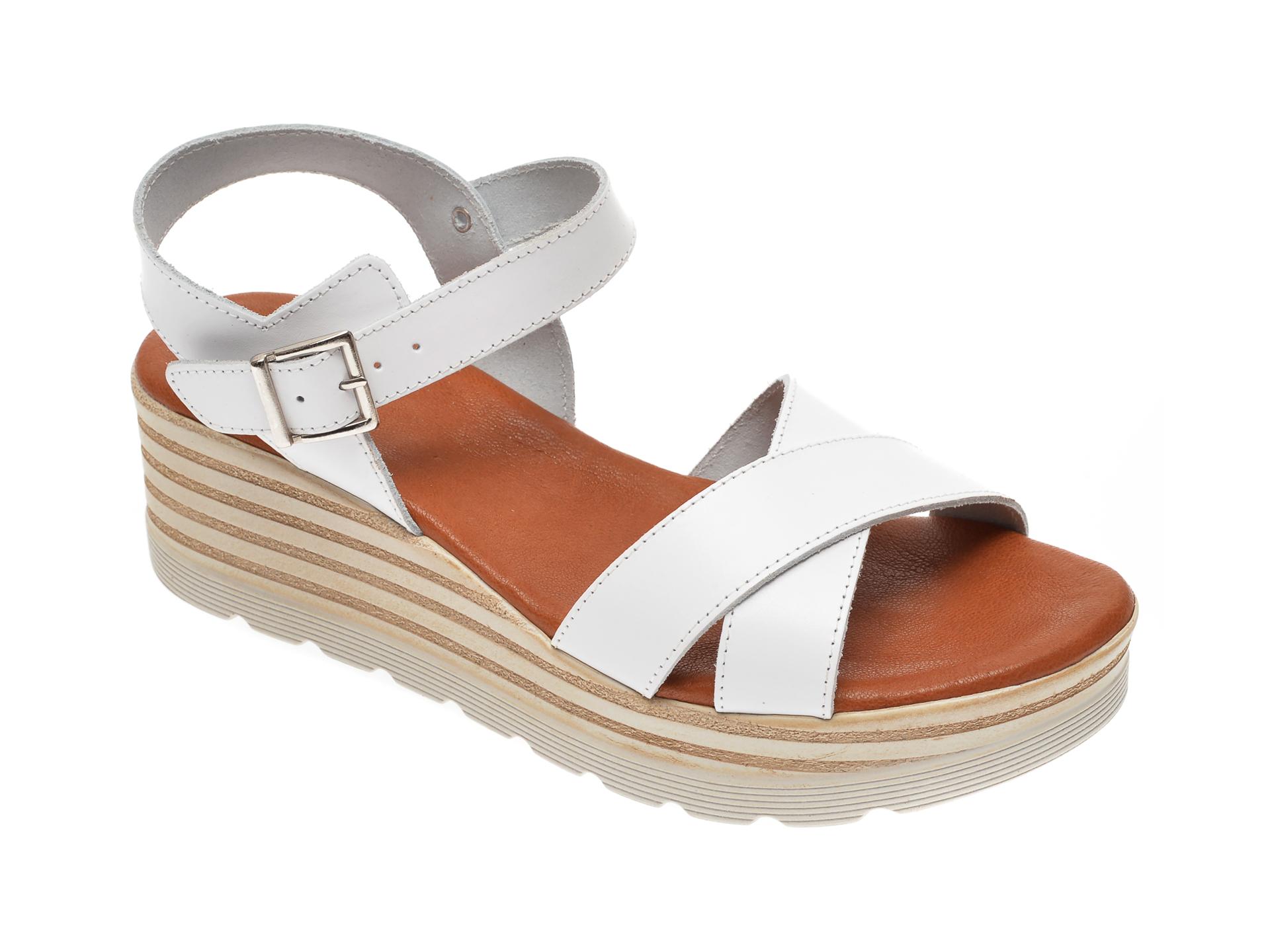 Sandale IMAGE albe, 8110, din piele naturala imagine