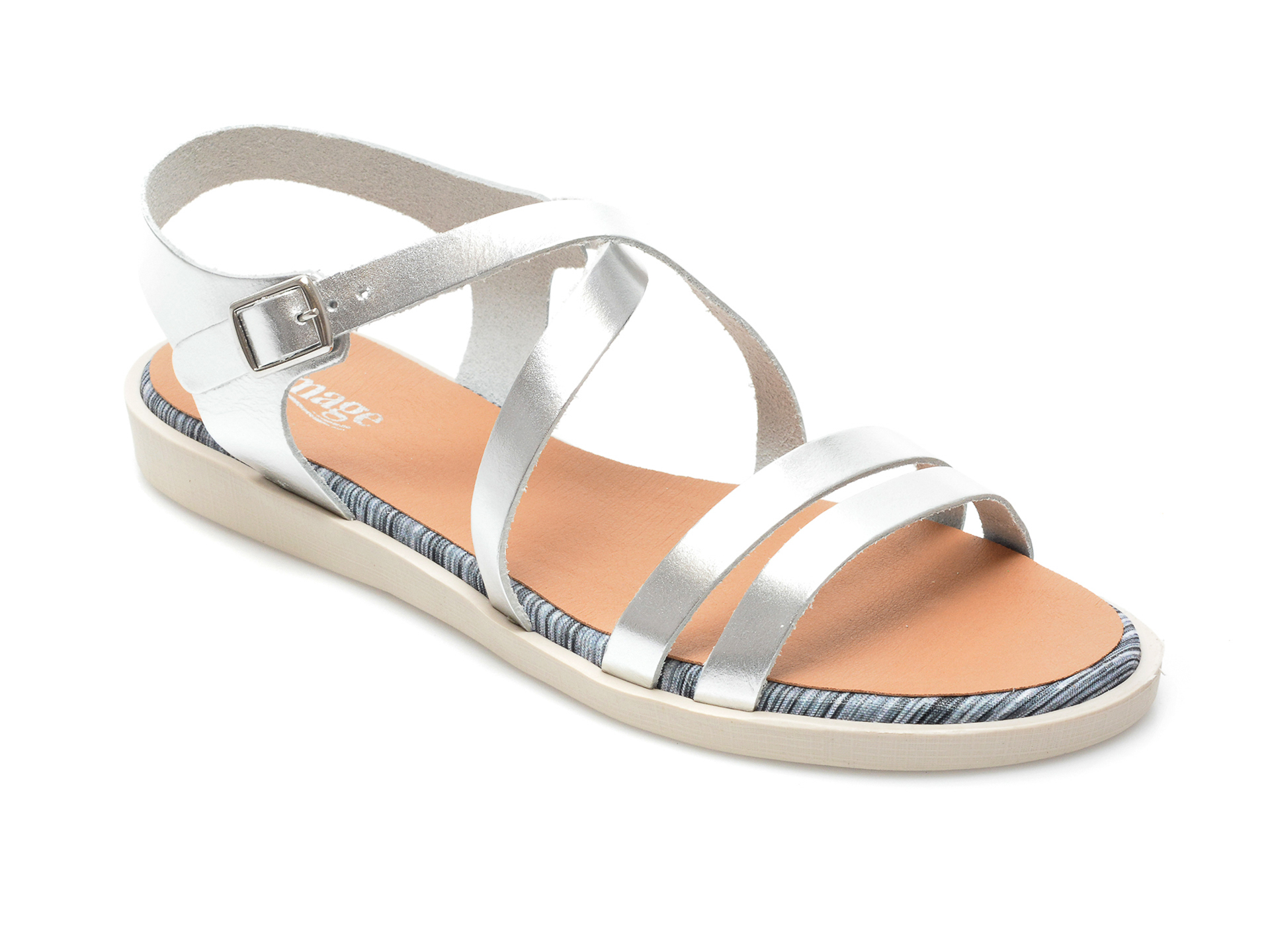 Sandale IMAGE argintii, TABARCA, din piele naturala imagine otter.ro 2021