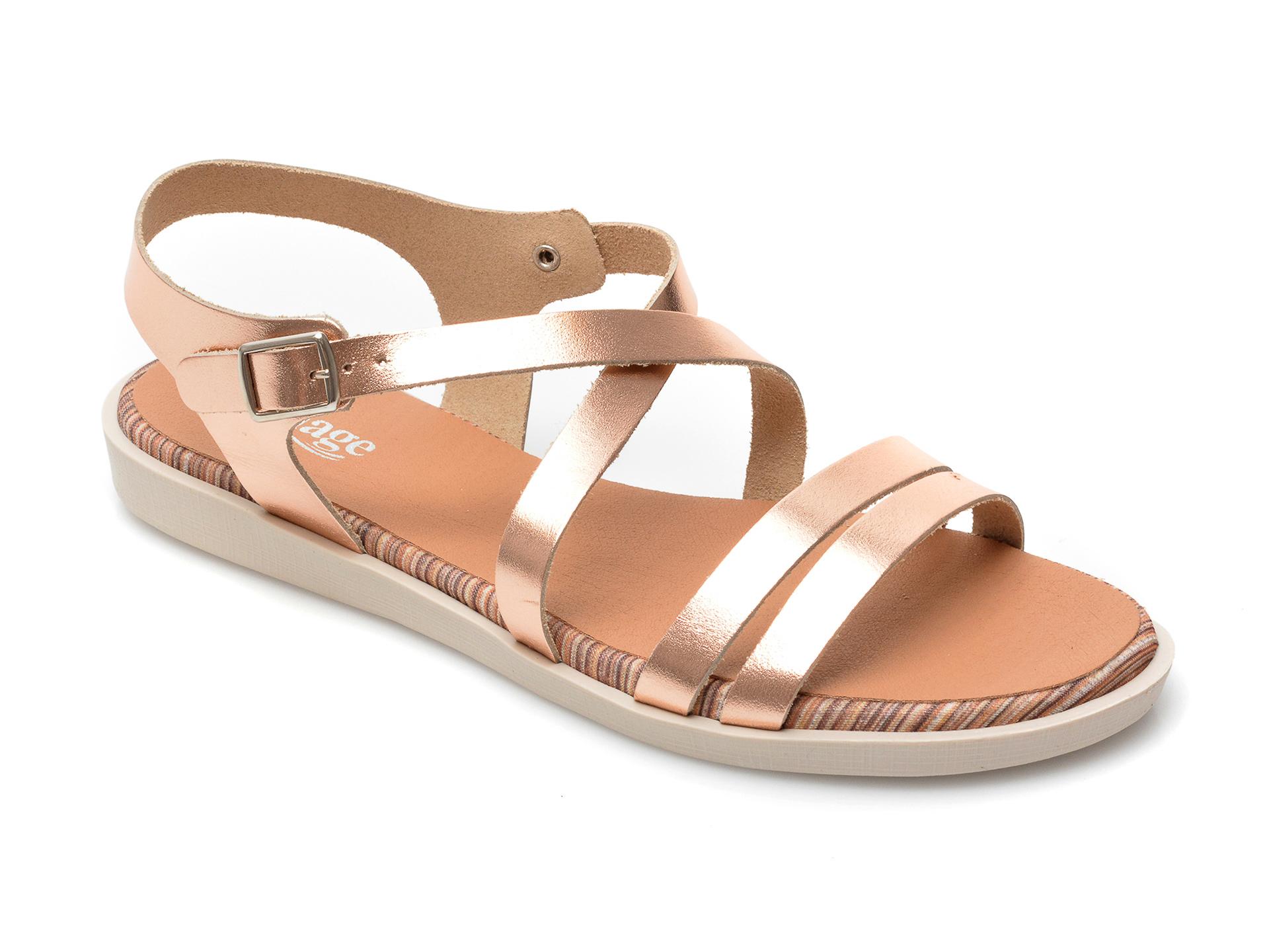 Sandale IMAGE aurii, TABARCA, din piele naturala imagine otter.ro 2021