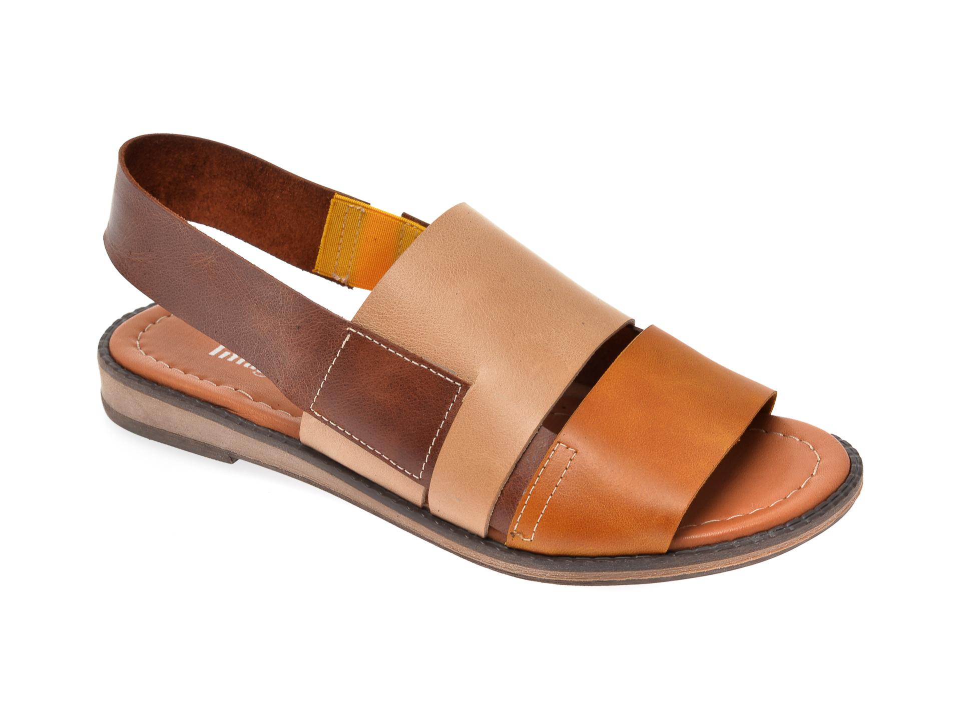 Sandale IMAGE bej, 122, din piele naturala imagine