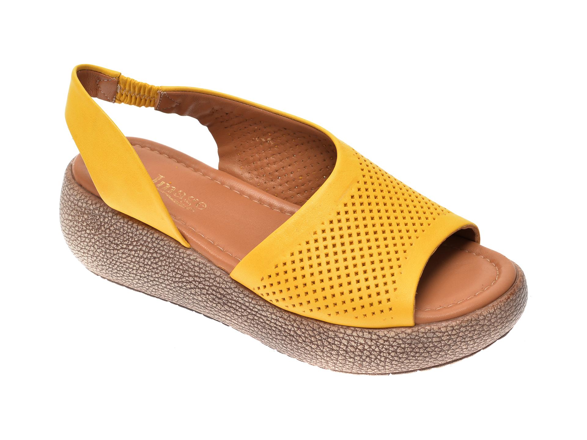 Sandale IMAGE galbene, 6033, din piele naturala imagine
