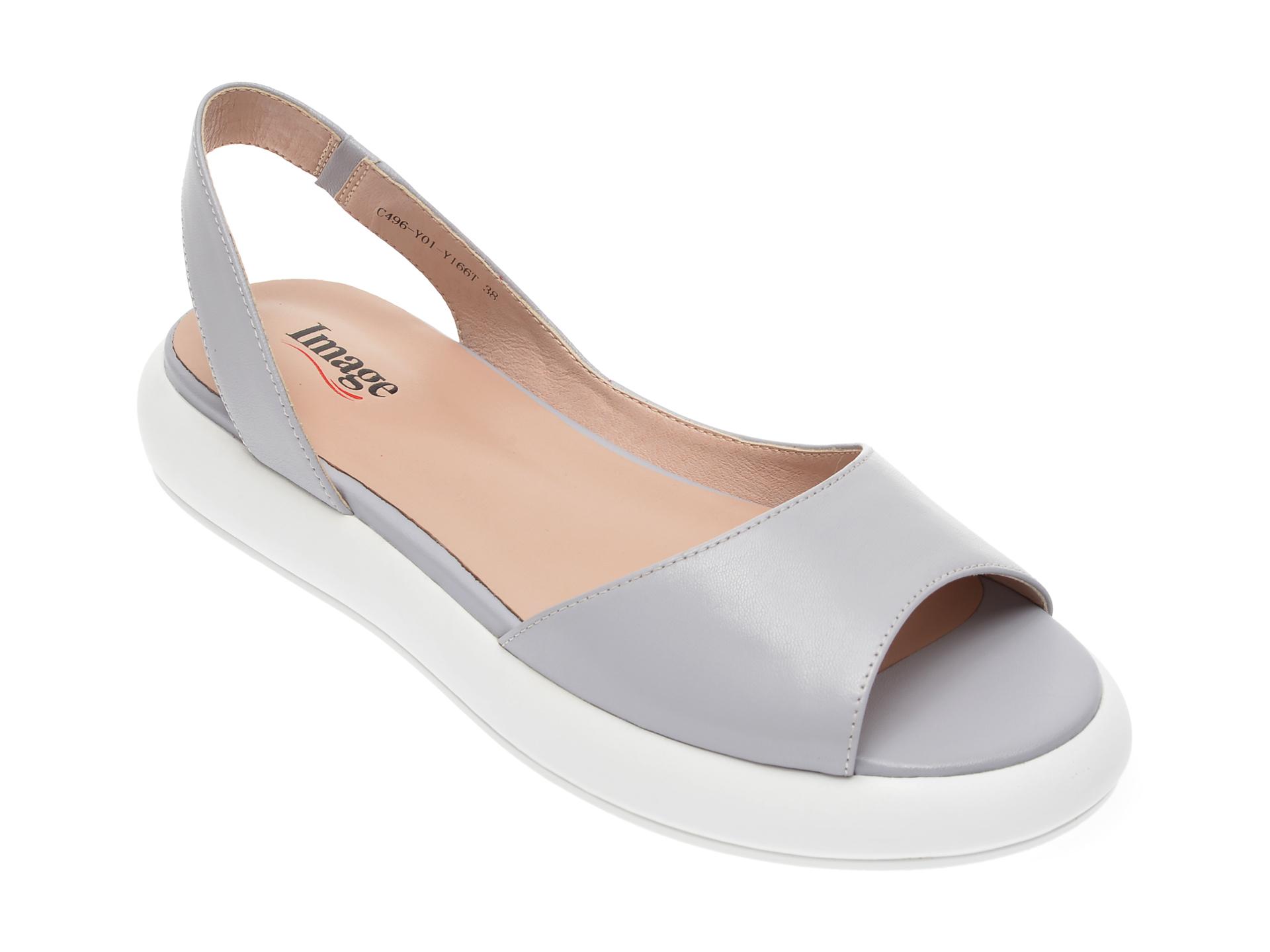 Sandale IMAGE gri, C496Y01, din piele naturala imagine