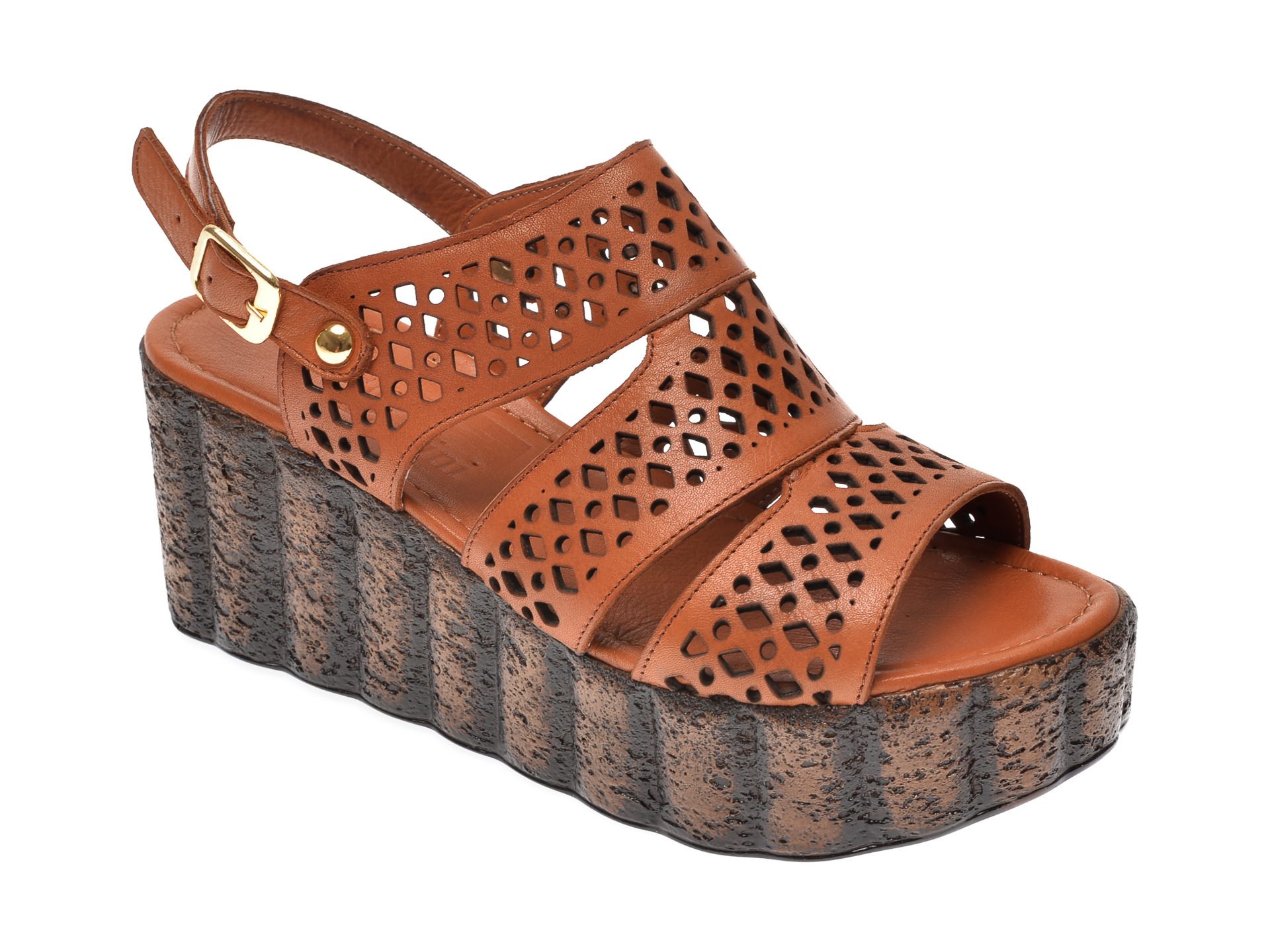 Sandale IMAGE maro, 108, din piele naturala imagine