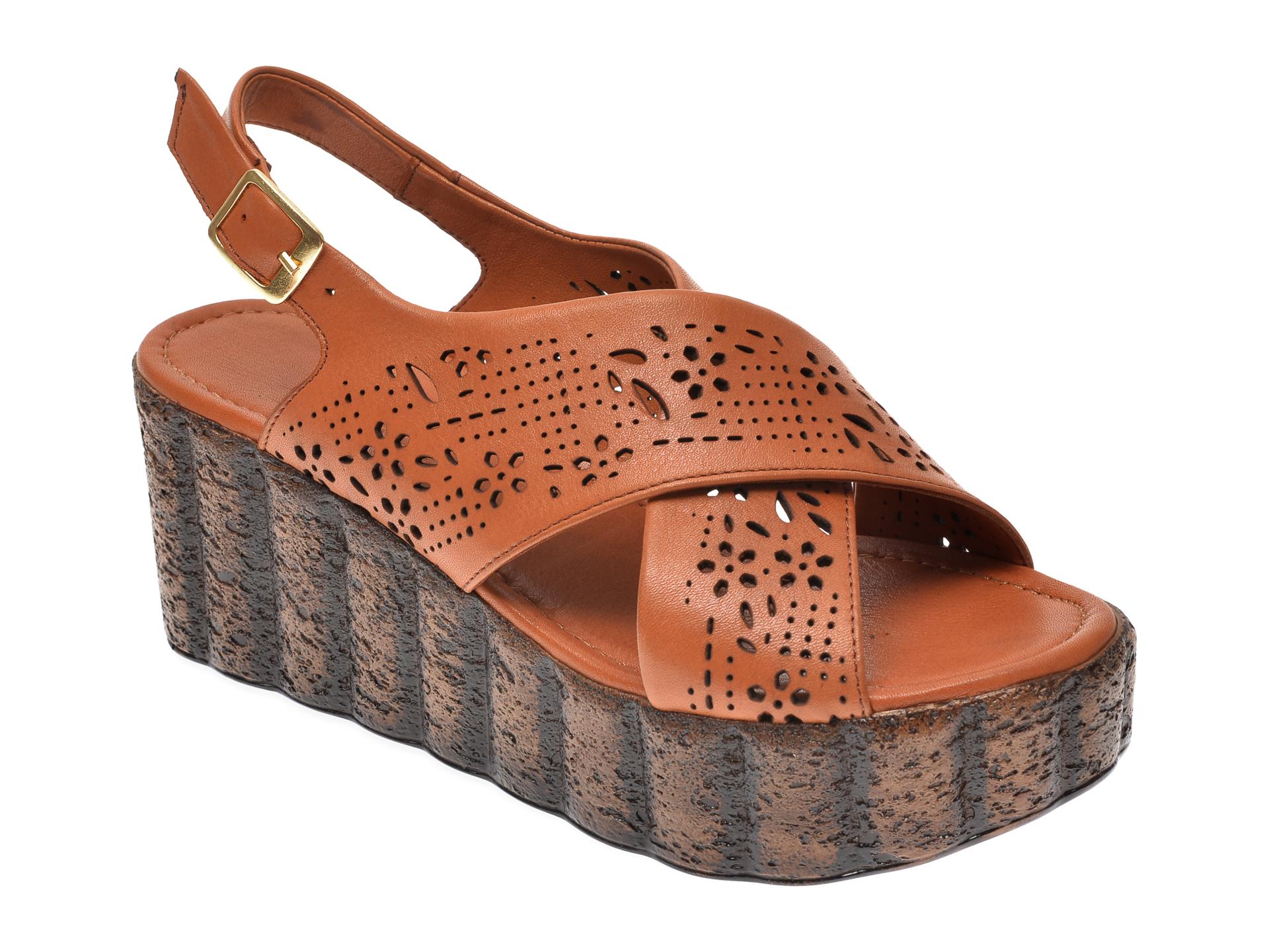 Sandale IMAGE maro, 112, din piele naturala