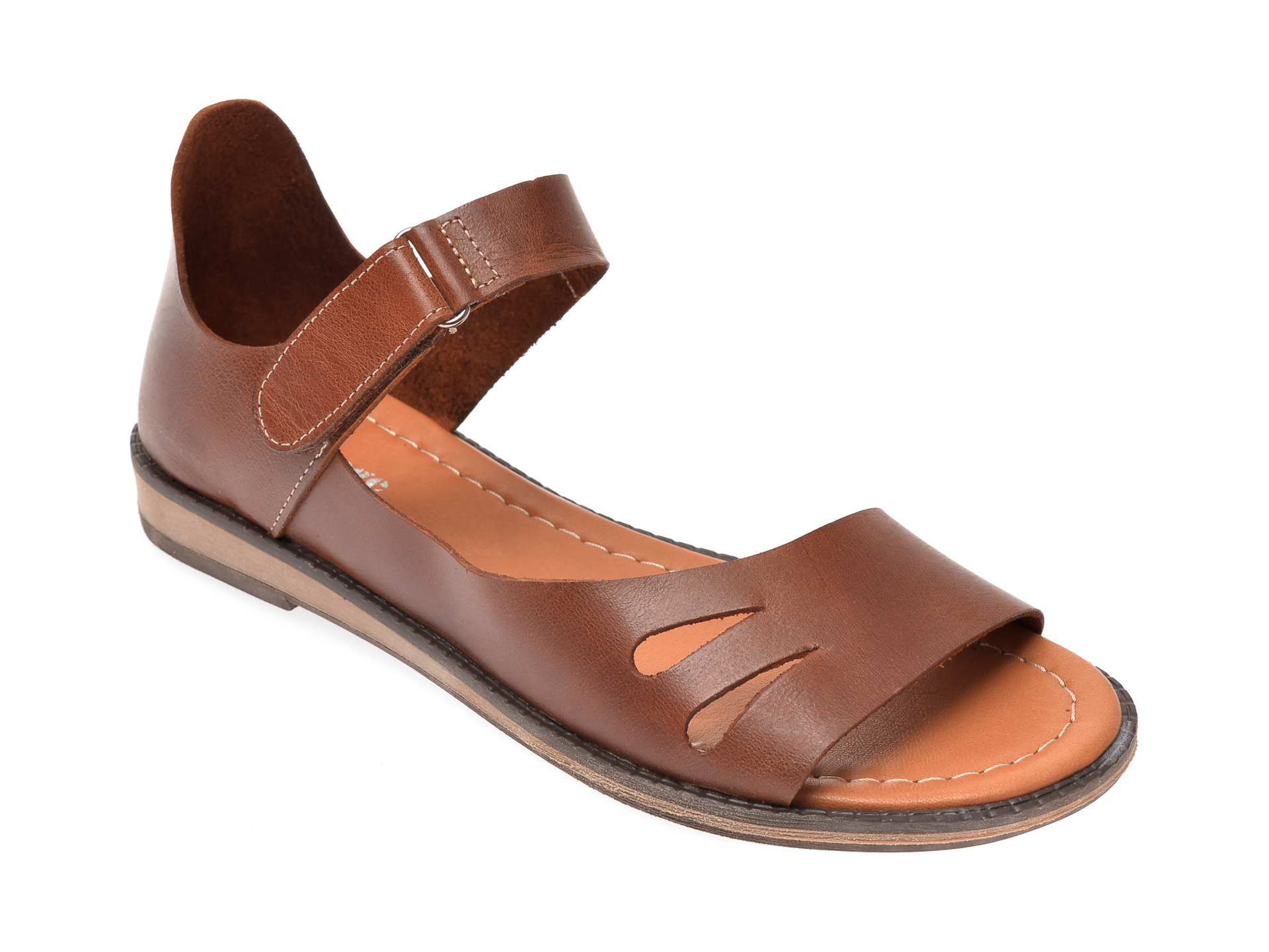 Sandale IMAGE maro, 118, din piele naturala imagine
