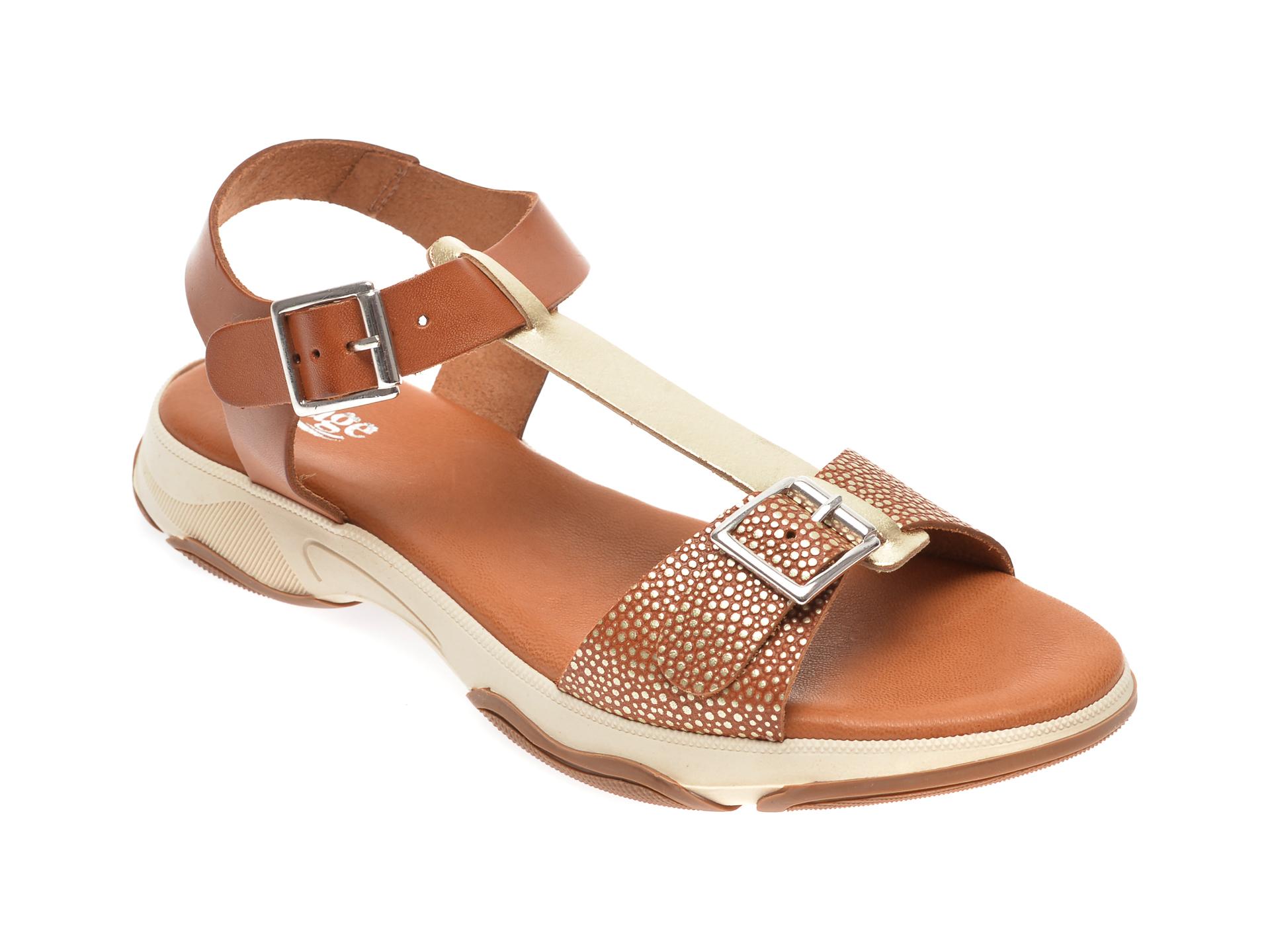Sandale IMAGE maro, 1335E, din piele naturala imagine