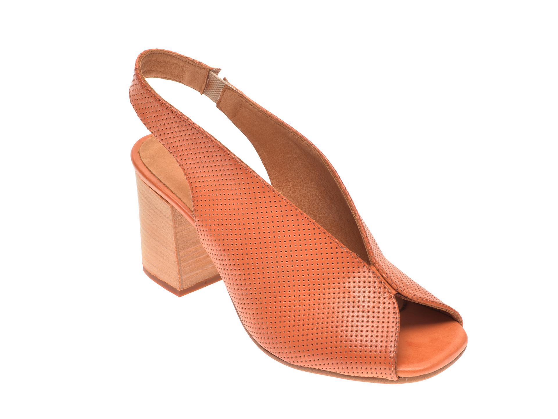 Sandale IMAGE maro, 2014, din piele naturala imagine