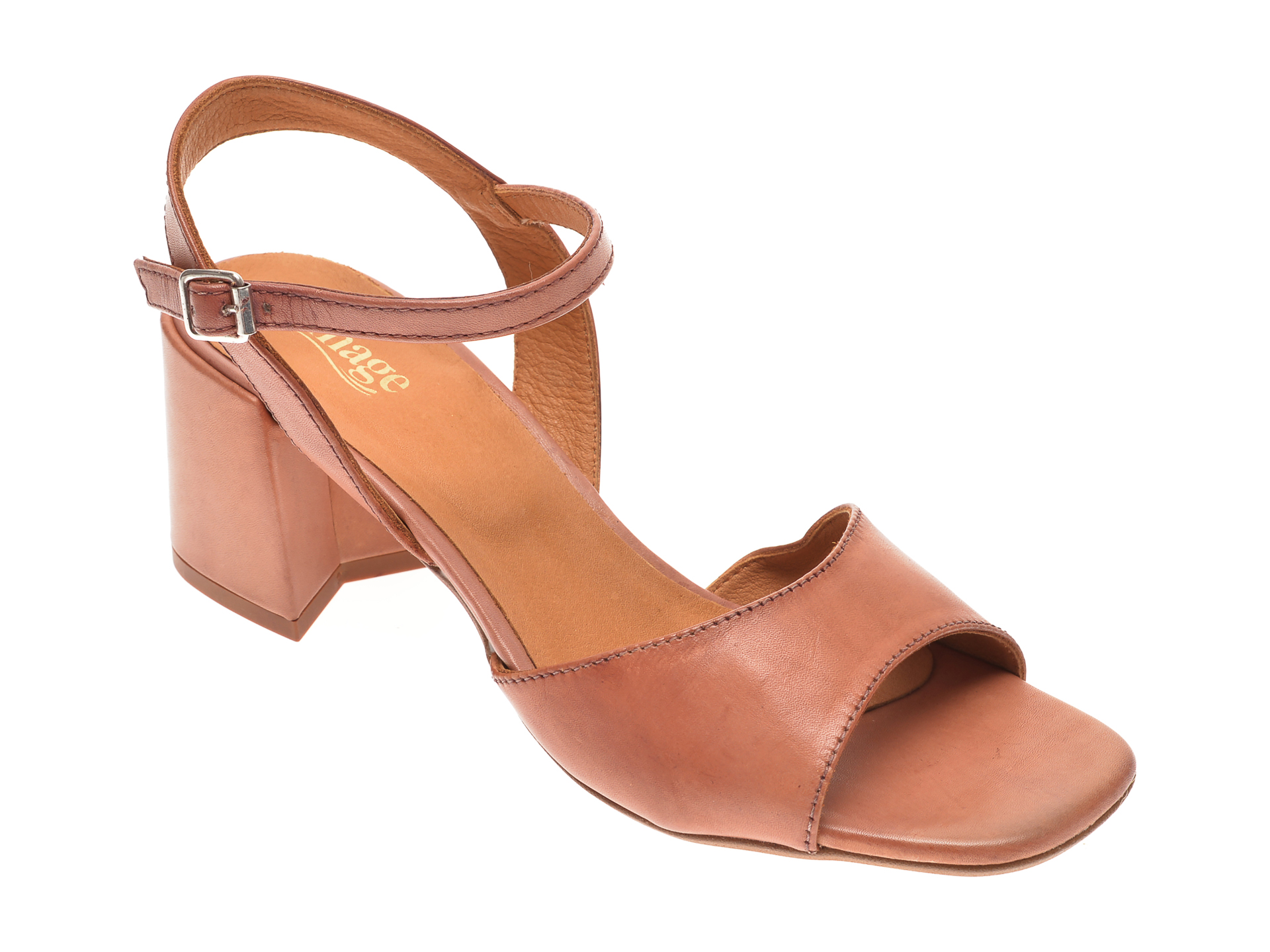 Sandale IMAGE maro, 2219, din piele naturala imagine