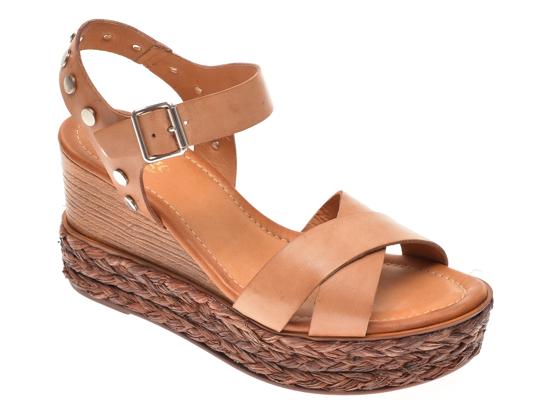 Sandale IMAGE maro, 4147, din piele naturala imagine