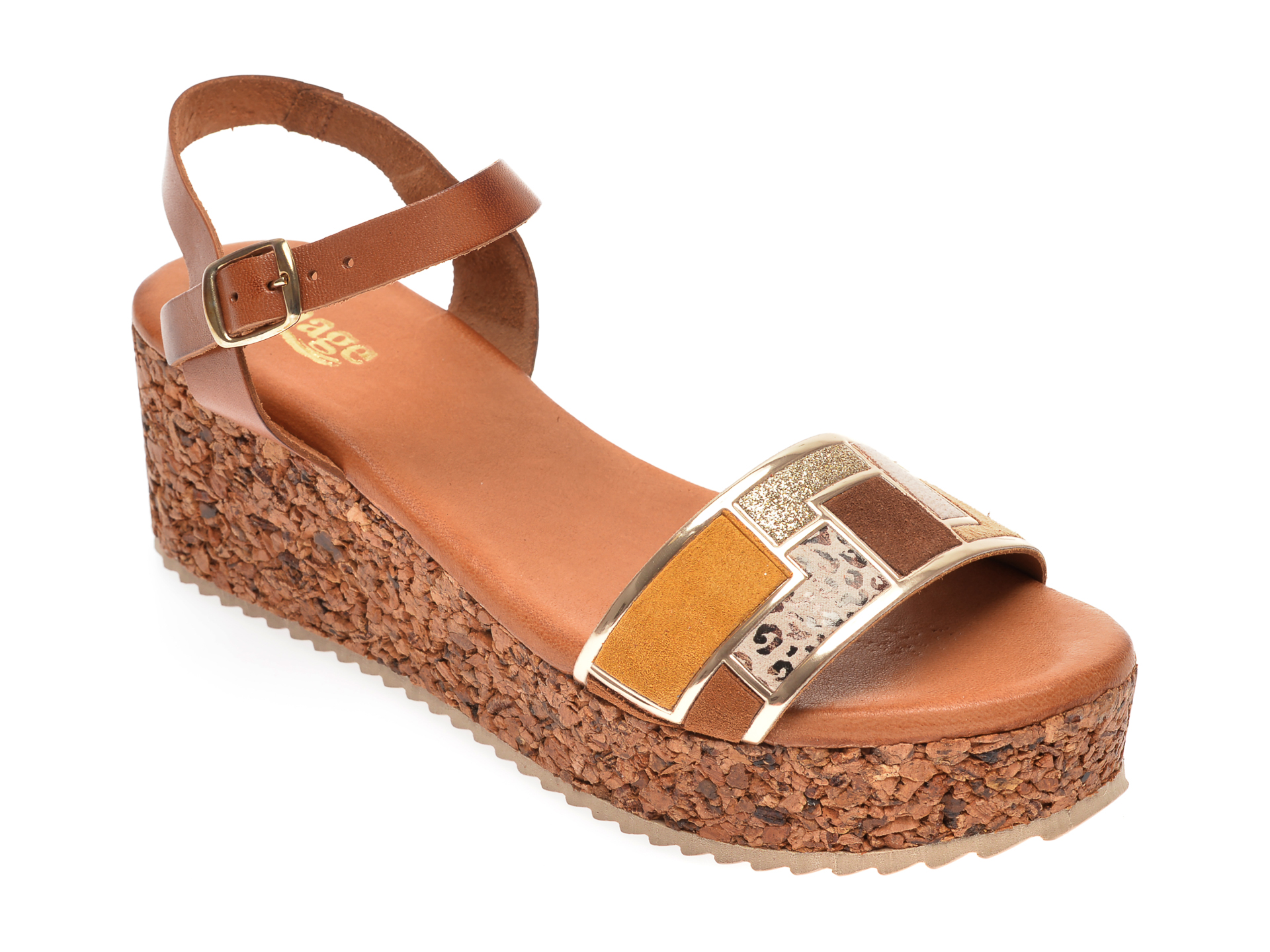 Sandale IMAGE maro, 54082, din piele naturala imagine