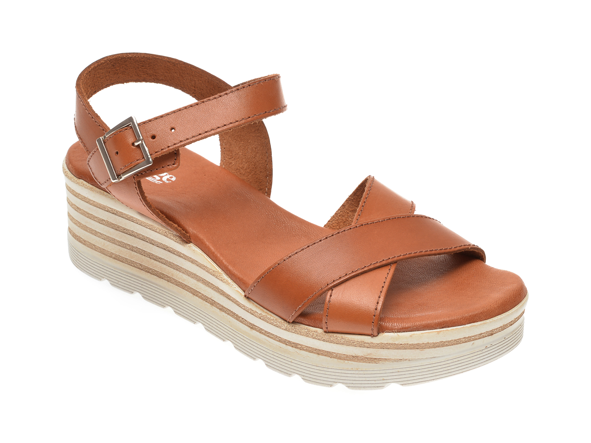 Sandale IMAGE maro, 8110, din piele naturala imagine