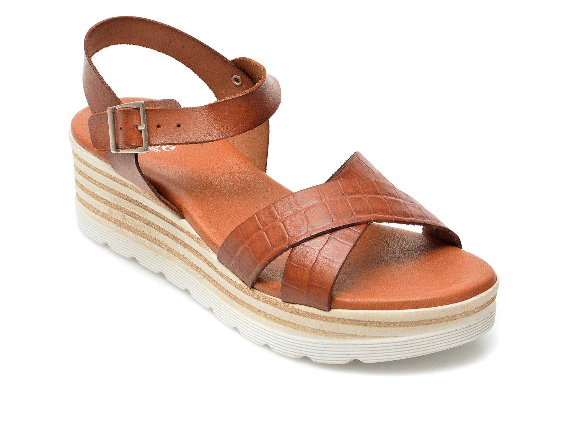 Sandale IMAGE maro inchis, 8110S, din piele naturala imagine otter.ro