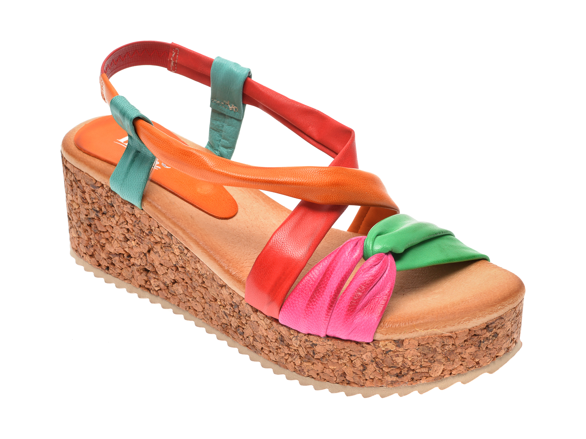 Sandale IMAGE multicolor, 1059, din piele naturala imagine