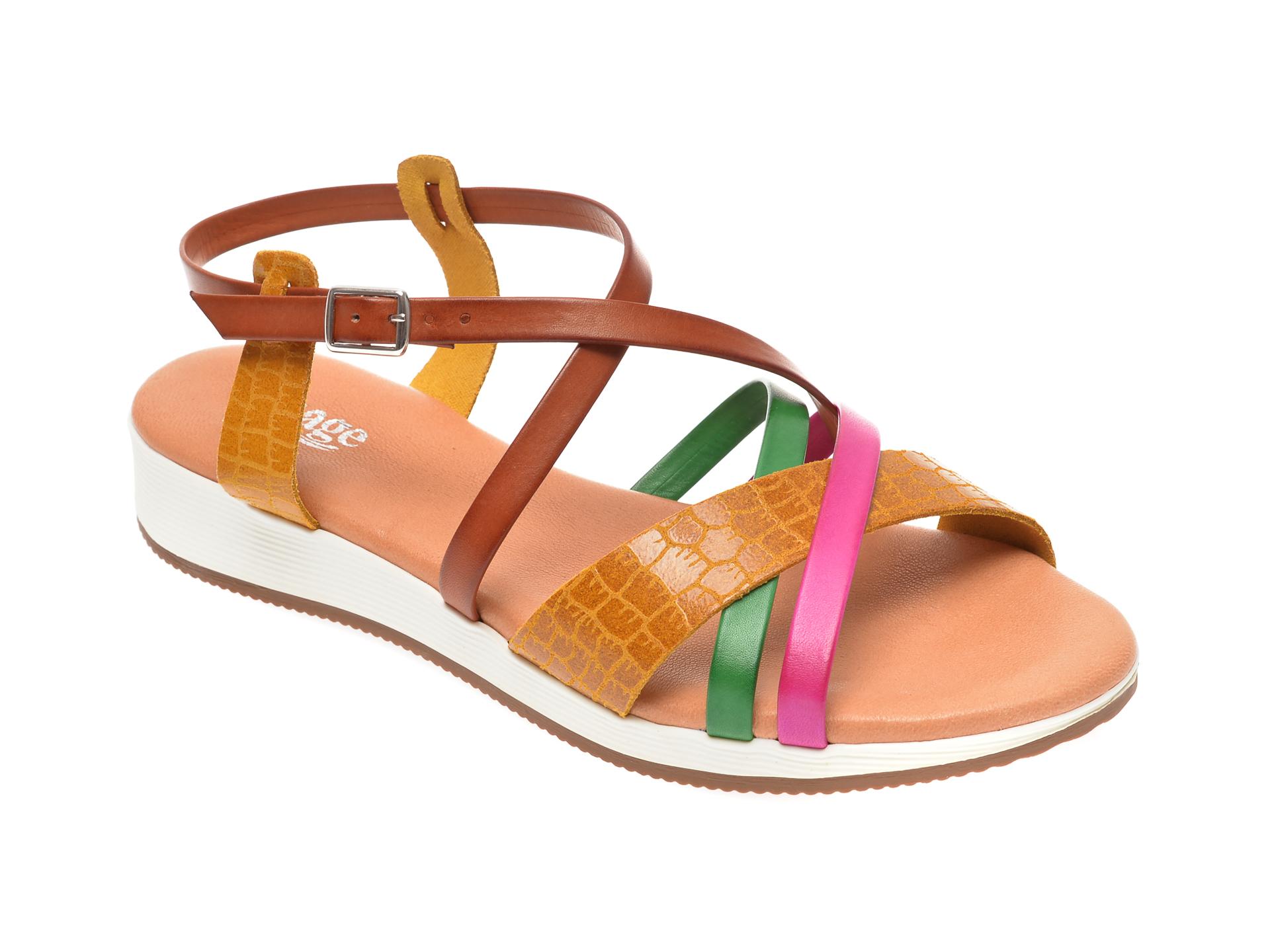 Sandale IMAGE multicolor, 1351C, din piele naturala