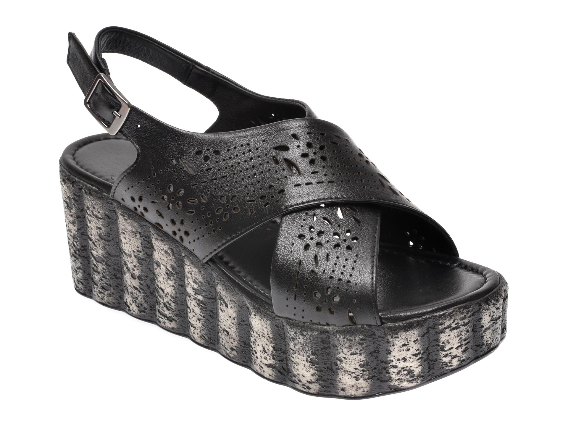 Sandale IMAGE negre, 112, din piele naturala imagine