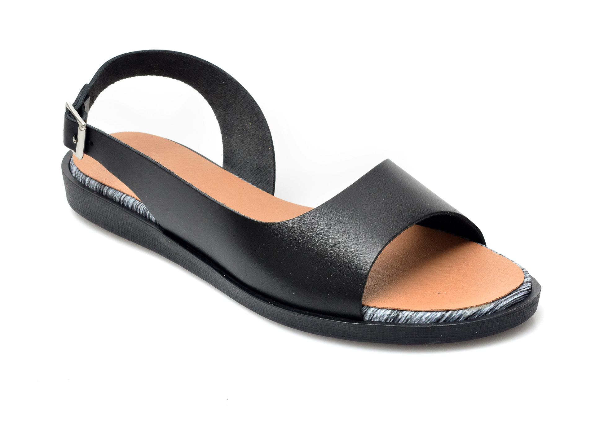 Sandale IMAGE negre, 1323, din piele naturala