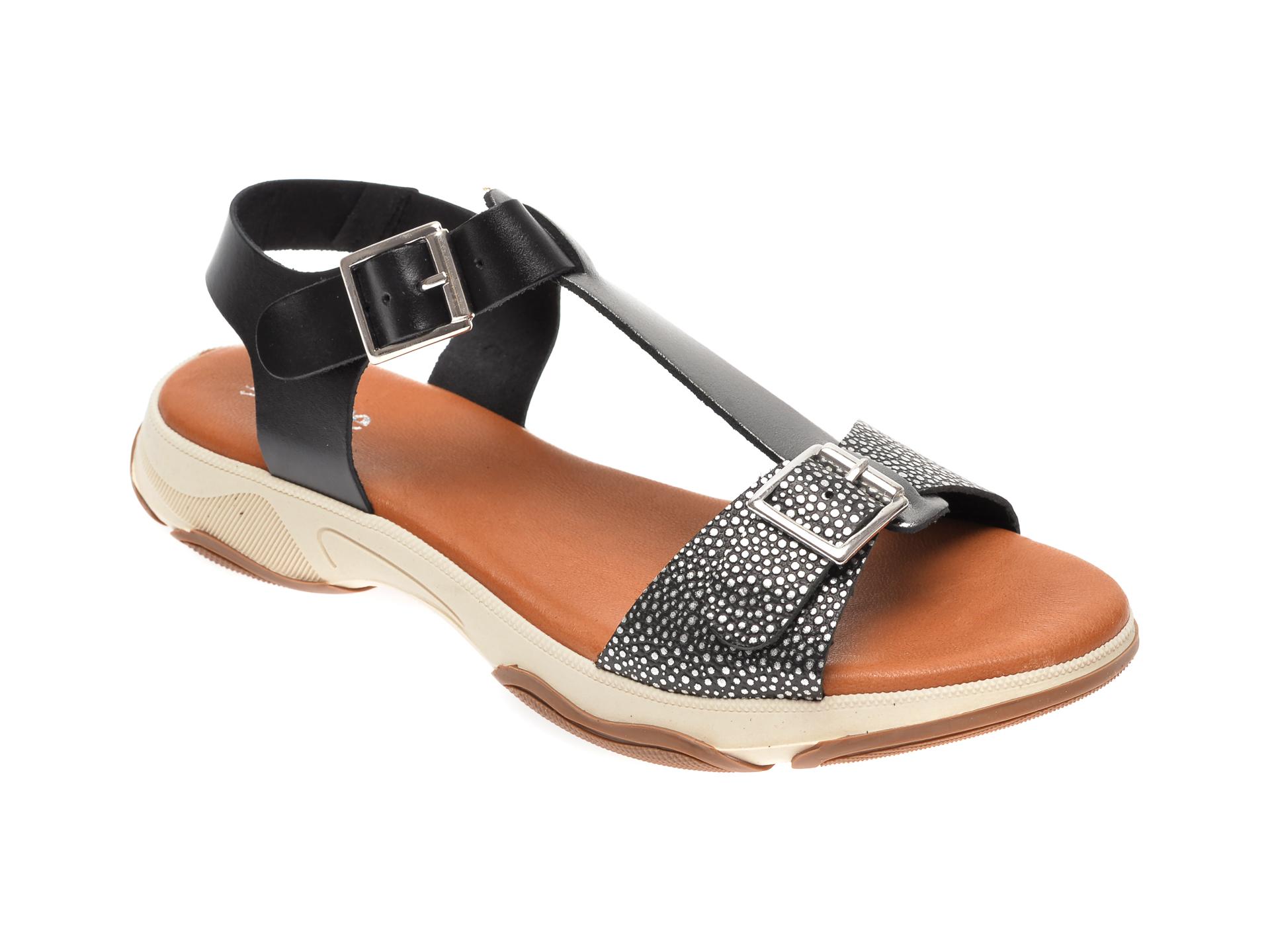 Sandale IMAGE negre, 1335T, din piele naturala New