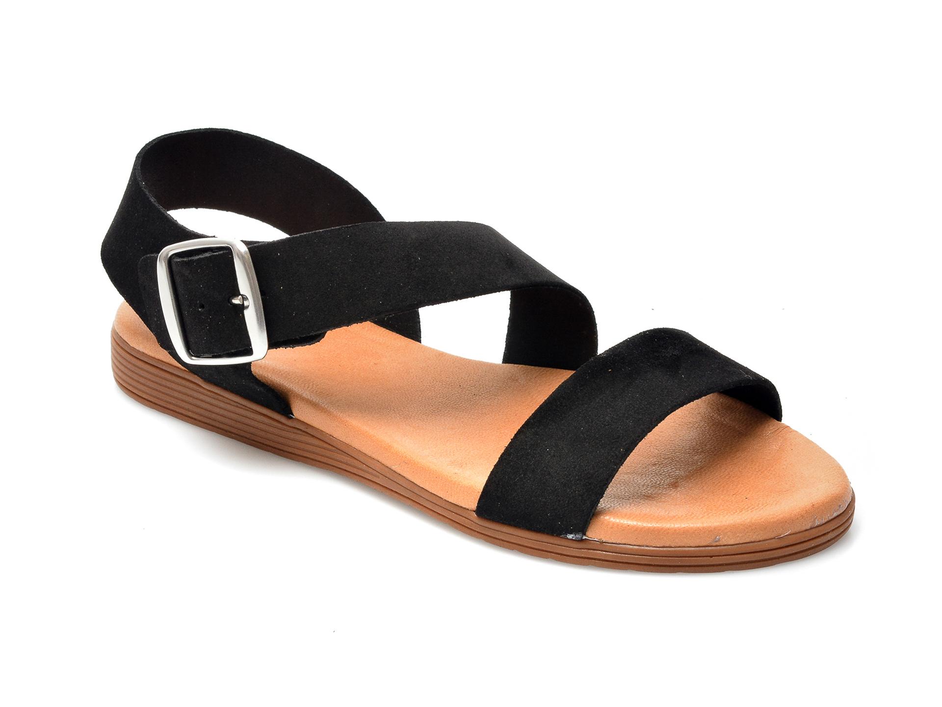 Sandale IMAGE negre, 1428S, din piele intoarsa imagine otter.ro