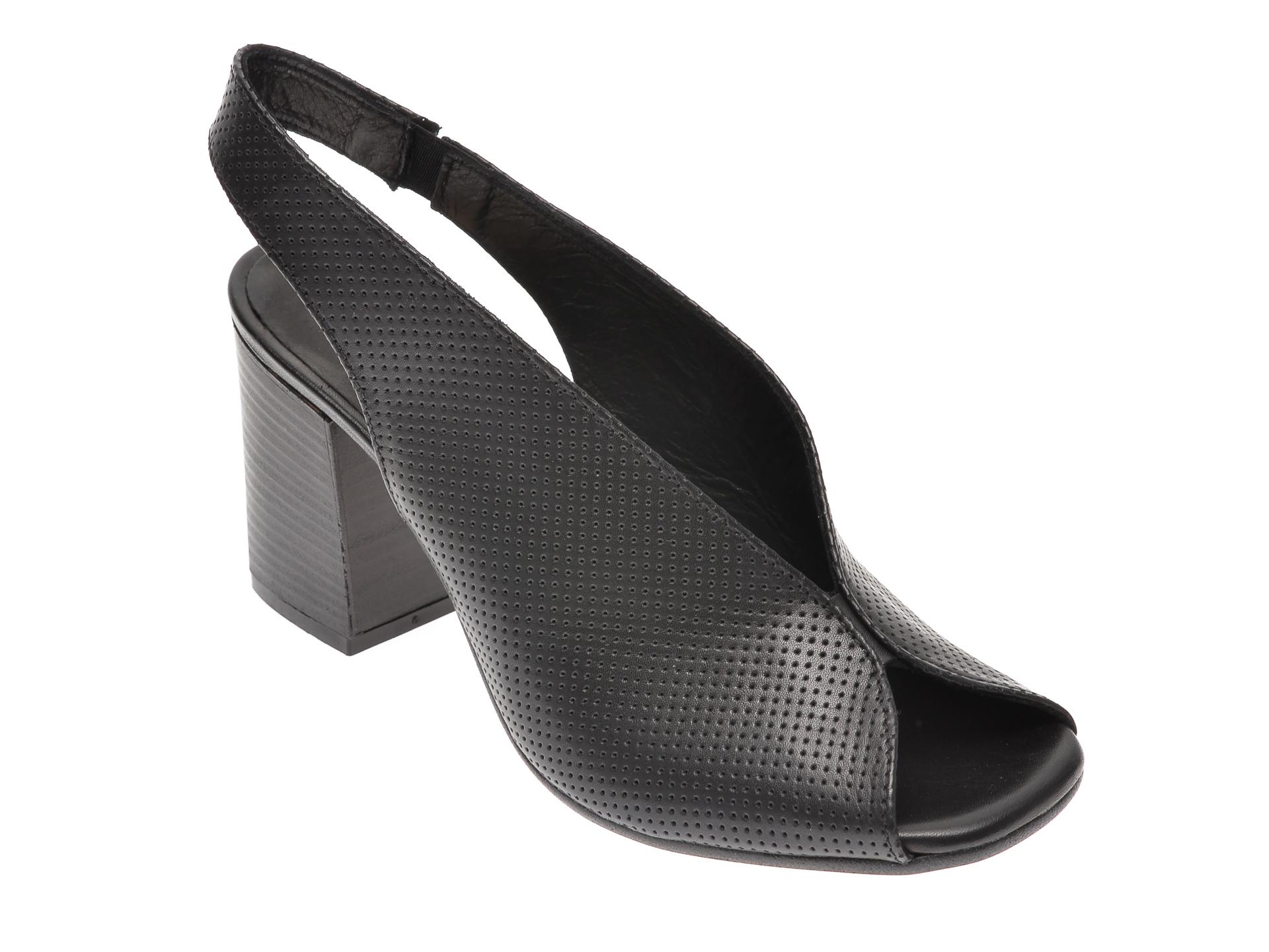 Sandale IMAGE negre, 2014, din piele naturala