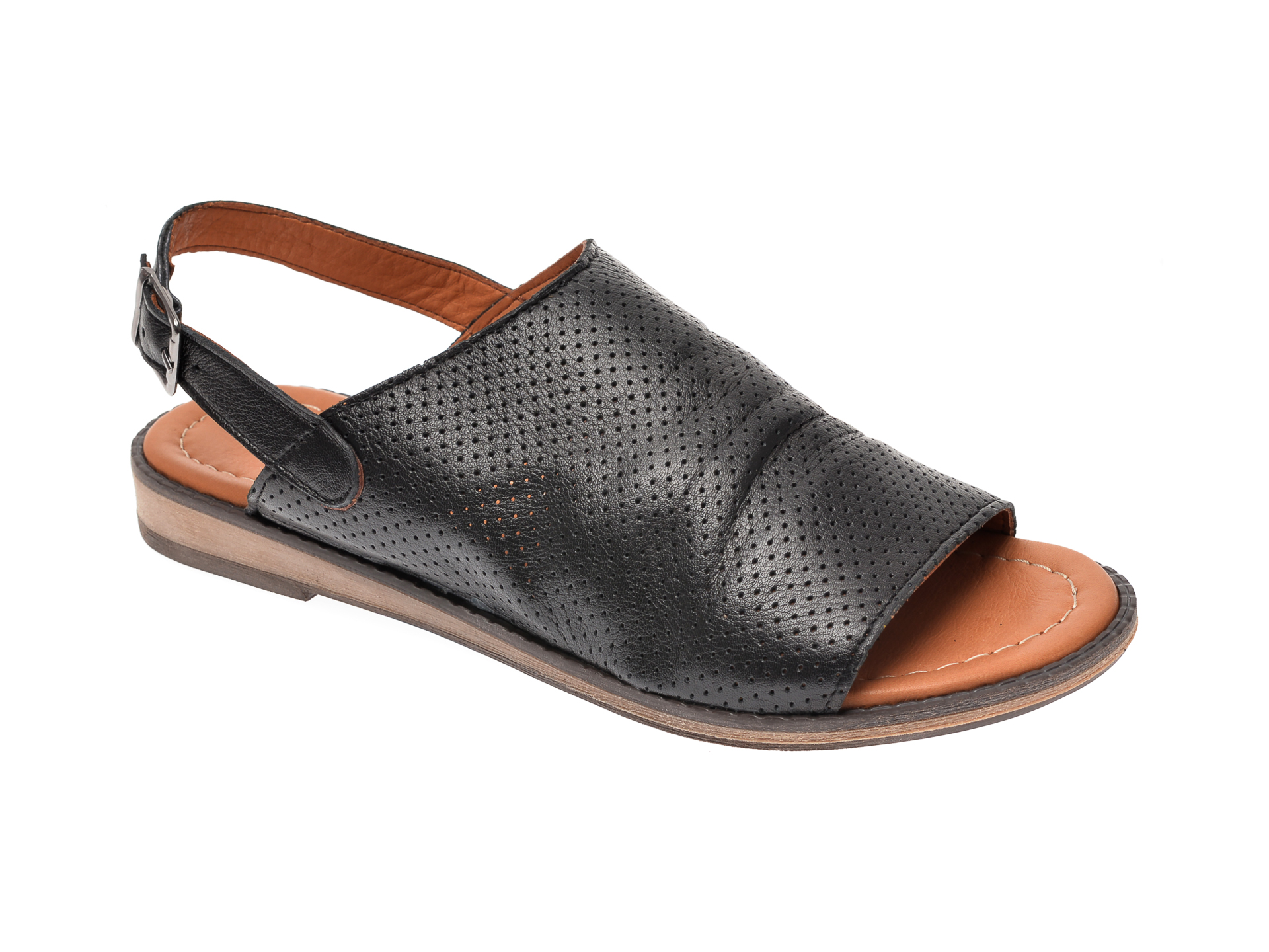 Sandale IMAGE negre, 201, din piele naturala imagine