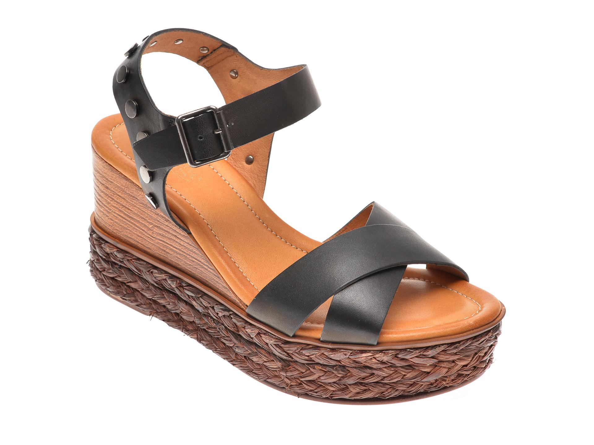 Sandale IMAGE negre, 4147, din piele naturala imagine
