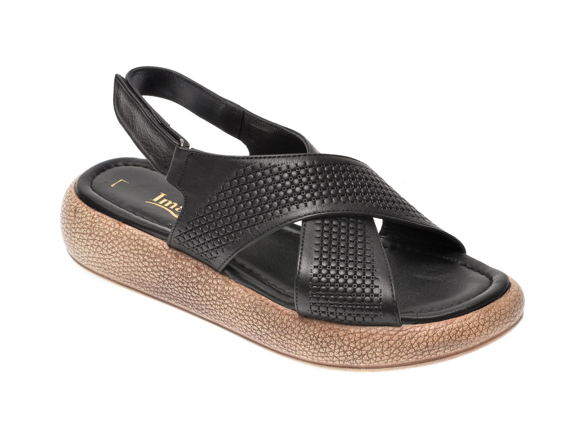 Sandale IMAGE negre, 6025, din piele naturala imagine