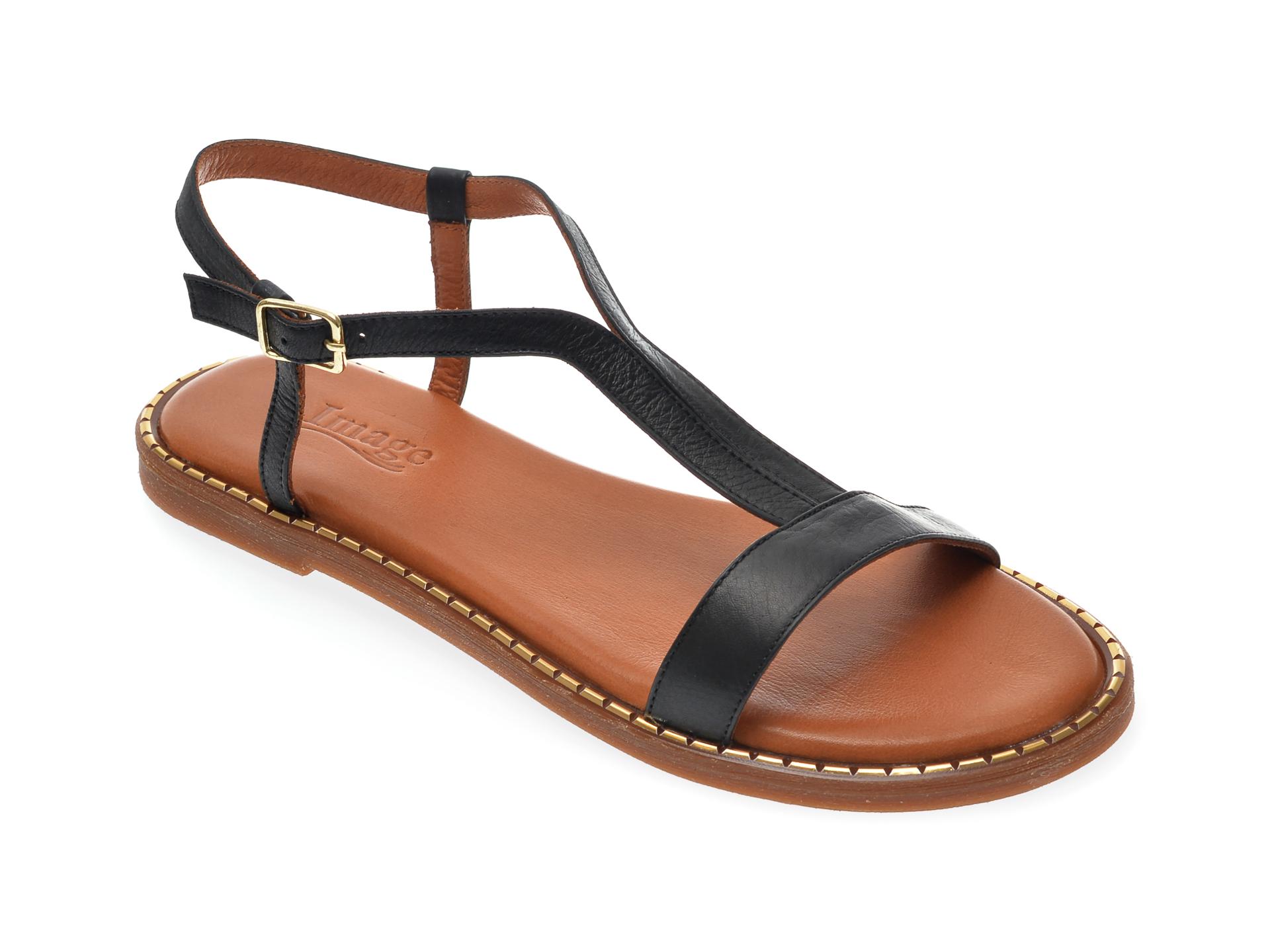 Sandale IMAGE negre, 701, din piele naturala imagine otter.ro 2021
