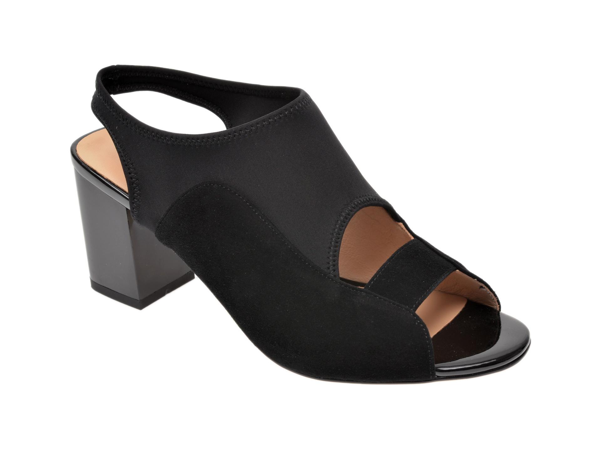 Sandale IMAGE negre, 7216203, din material textil si piele intoarsa
