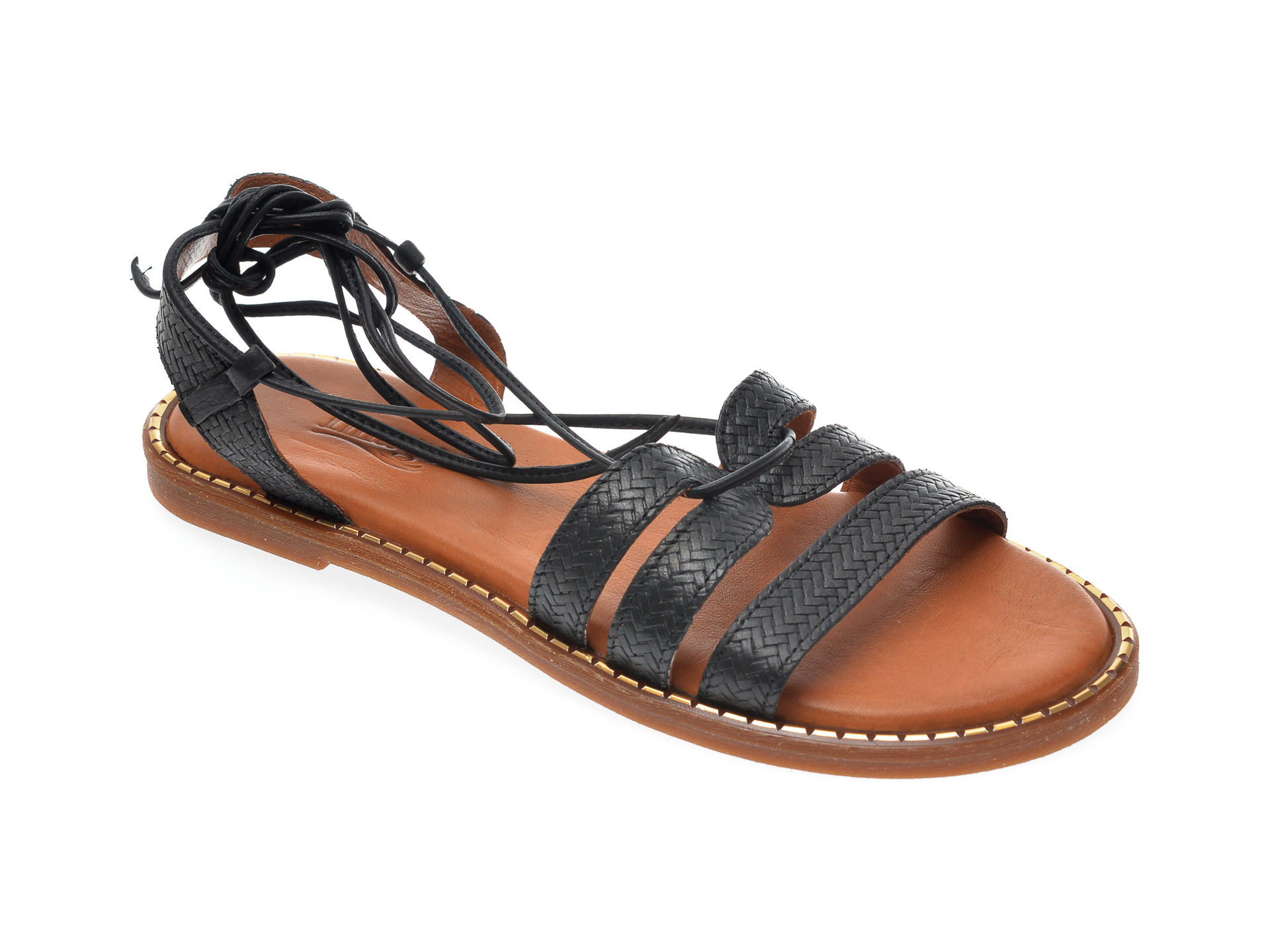 Sandale IMAGE negre, 724, din piele naturala imagine otter.ro 2021