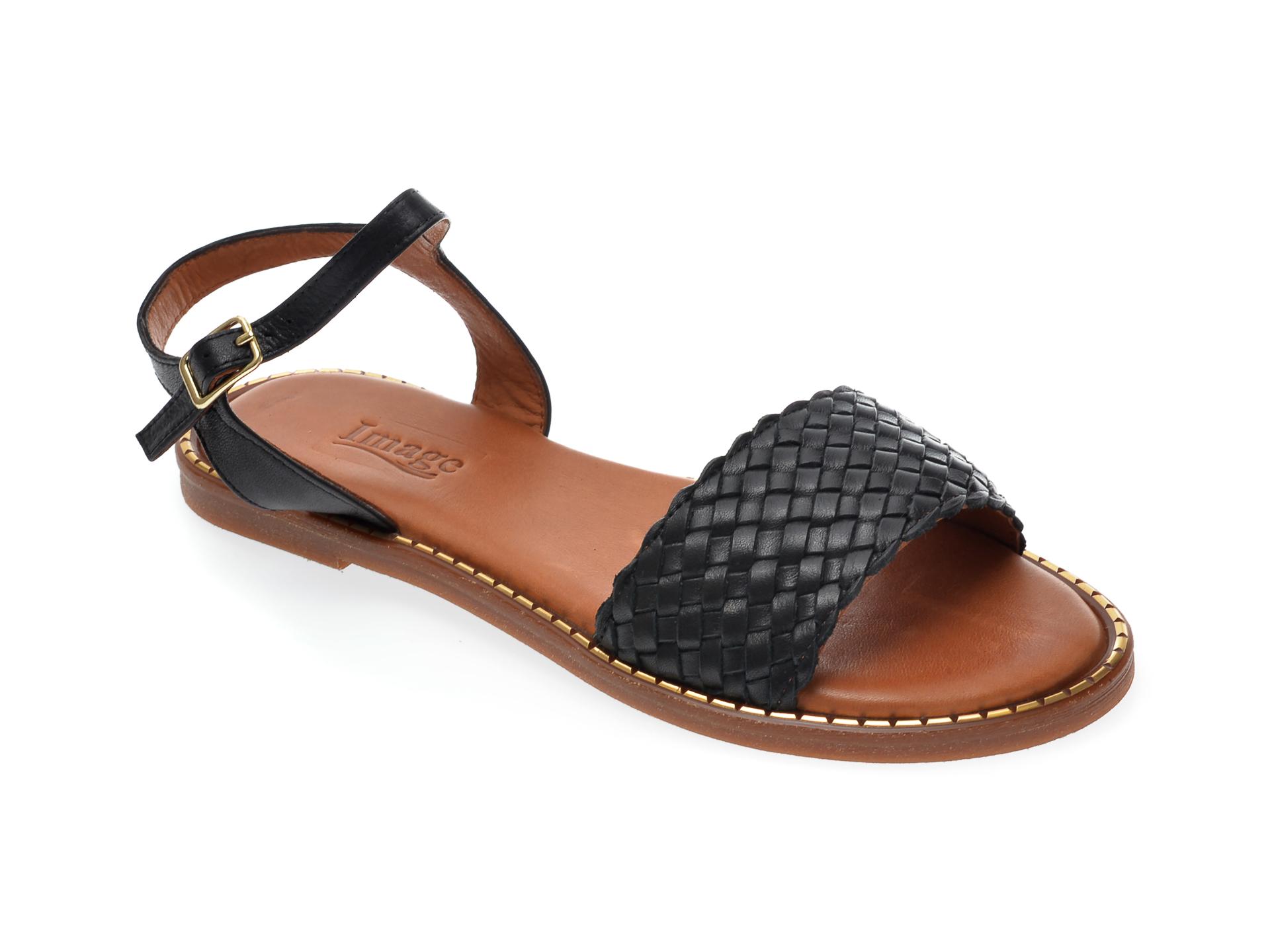 Sandale IMAGE negre, 736, din piele naturala imagine otter.ro