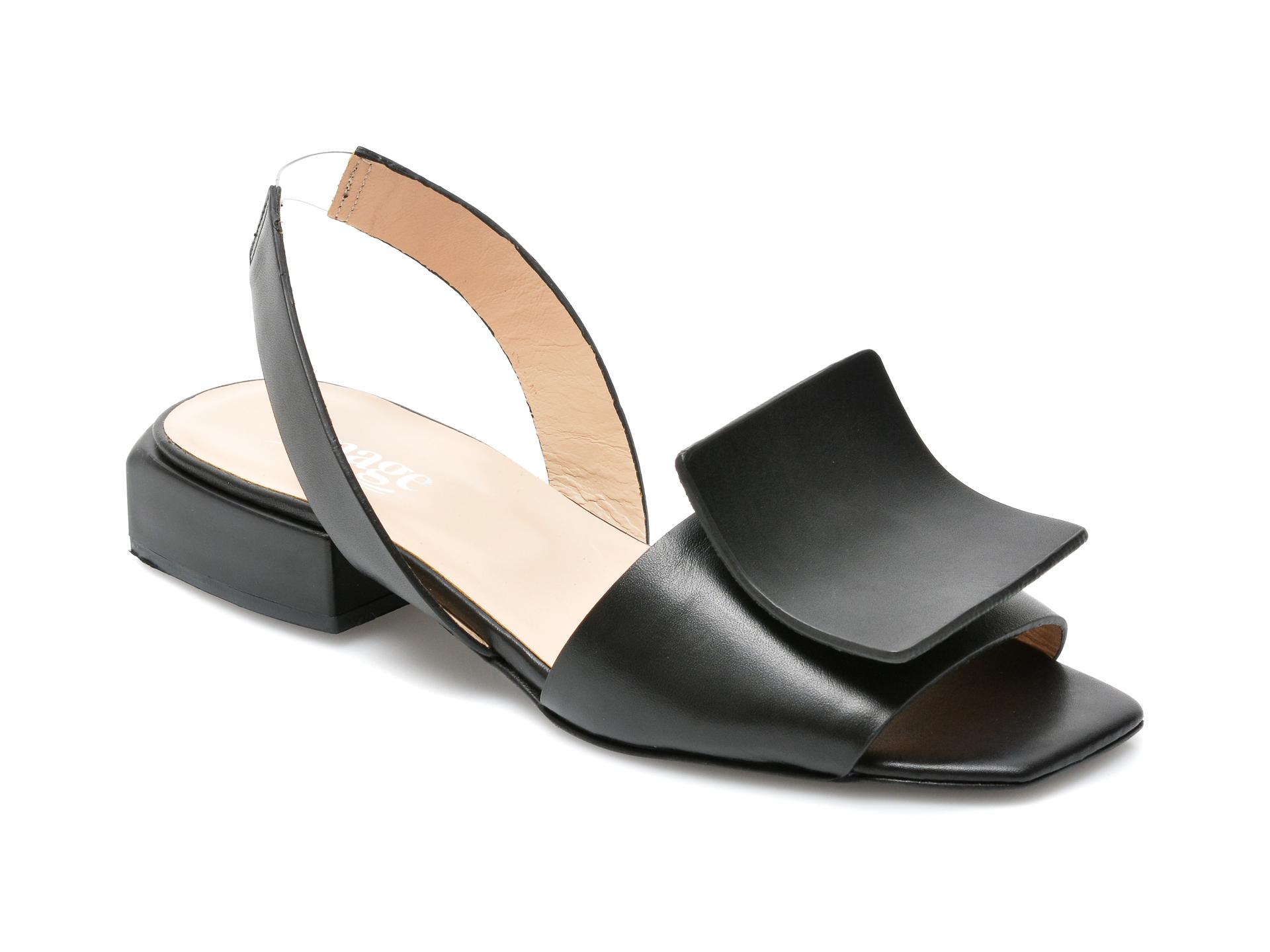 Sandale IMAGE negre, 739H133, din piele naturala imagine otter.ro 2021