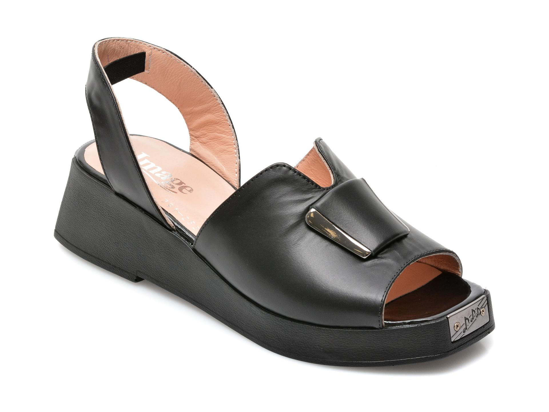 Sandale IMAGE negre, 791242S, din piele naturala imagine otter.ro 2021
