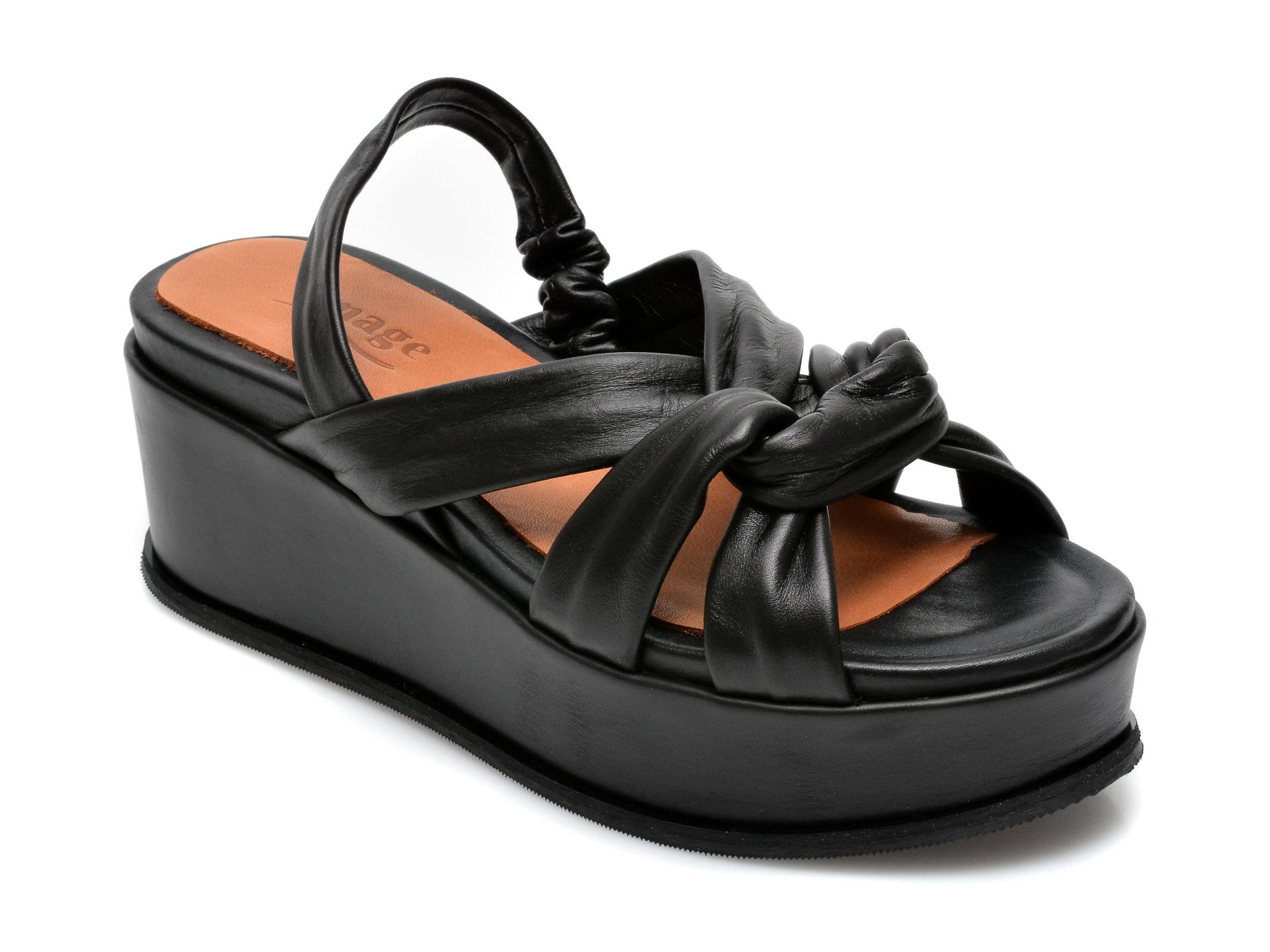 Sandale IMAGE negre, K56015, din piele naturala imagine otter.ro 2021