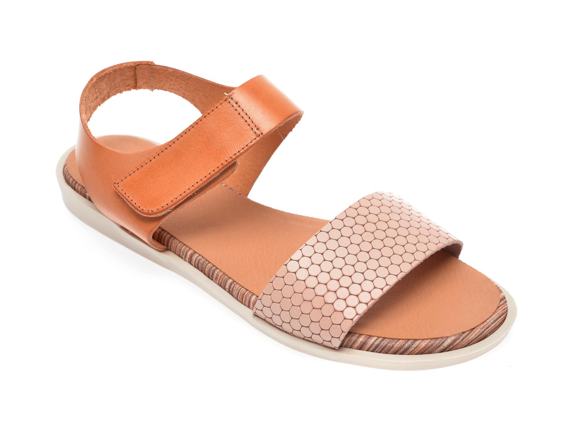 Sandale IMAGE nude, 1242, din piele naturala imagine