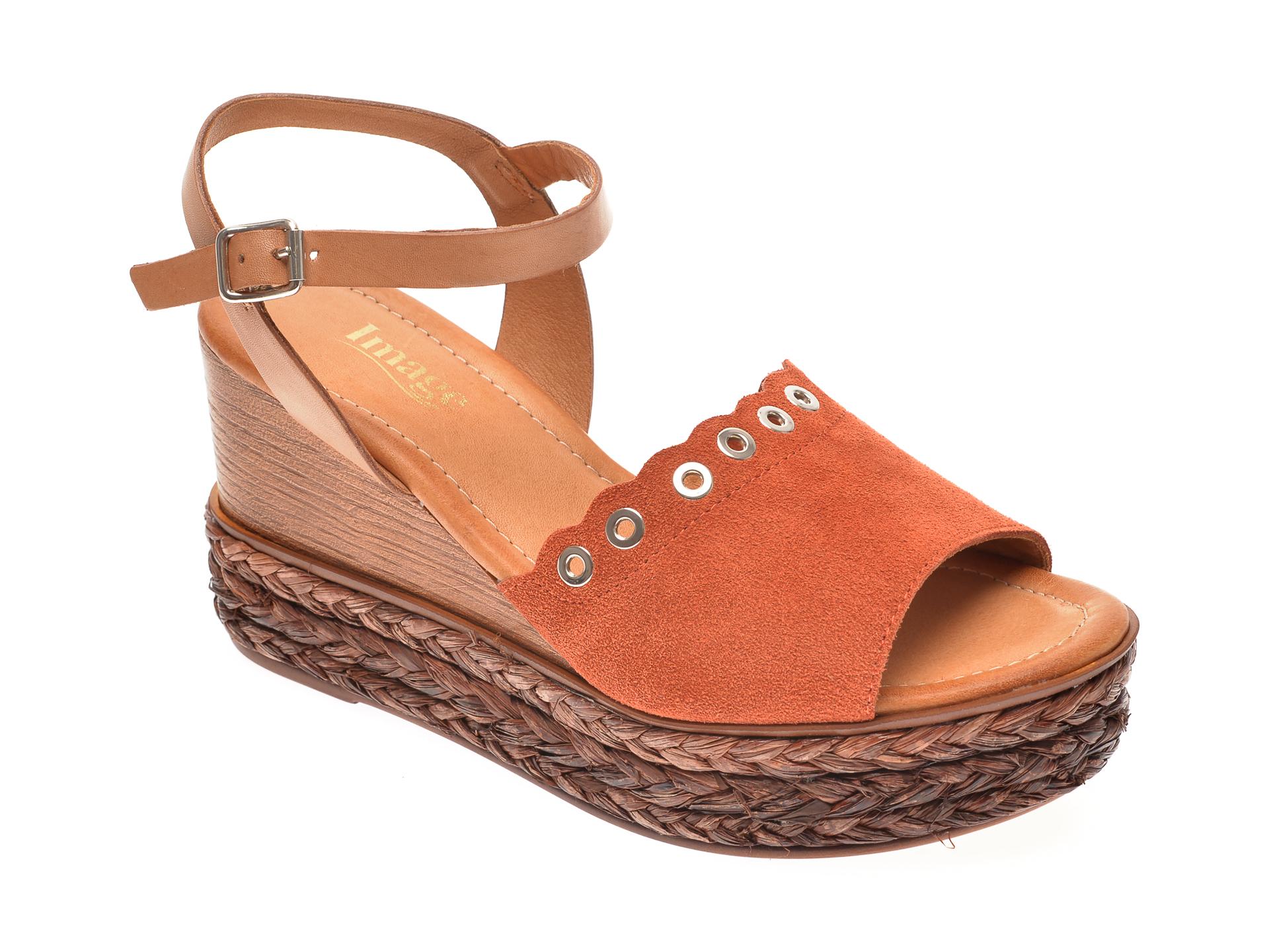 Sandale IMAGE portocalii, 4151, din piele intoarsa