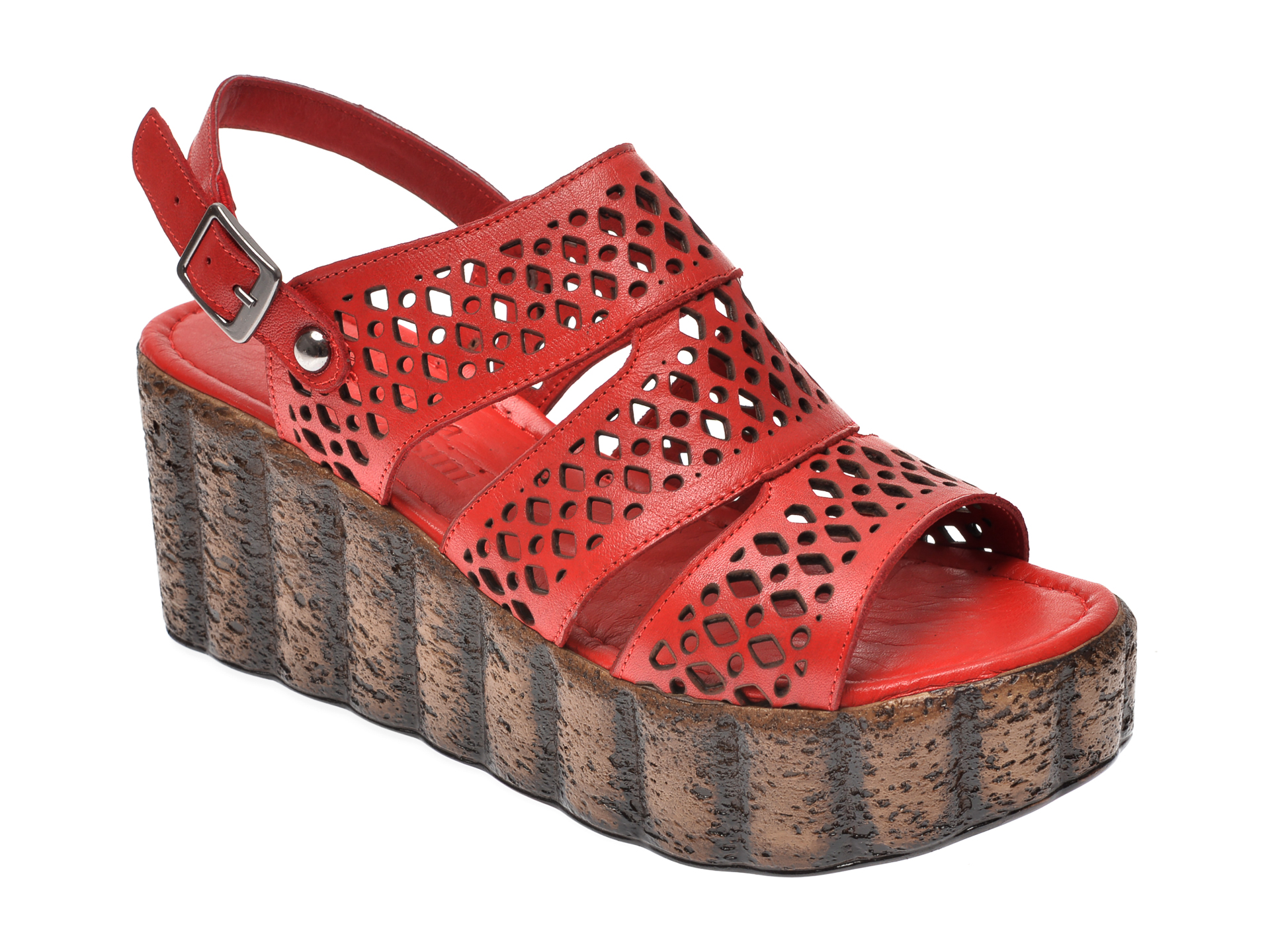Sandale IMAGE rosii, 108, din piele naturala imagine